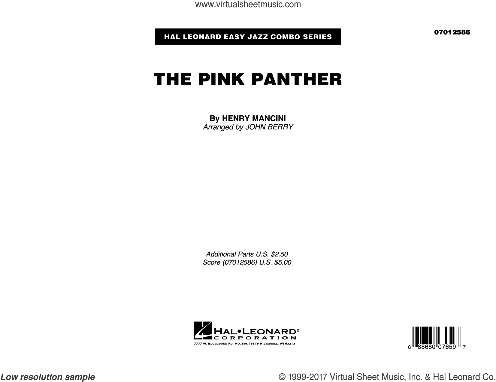 The Pink Panther (COMPLETE) sheet music for jazz band by Henry Mancini and John Berry, intermediate skill level