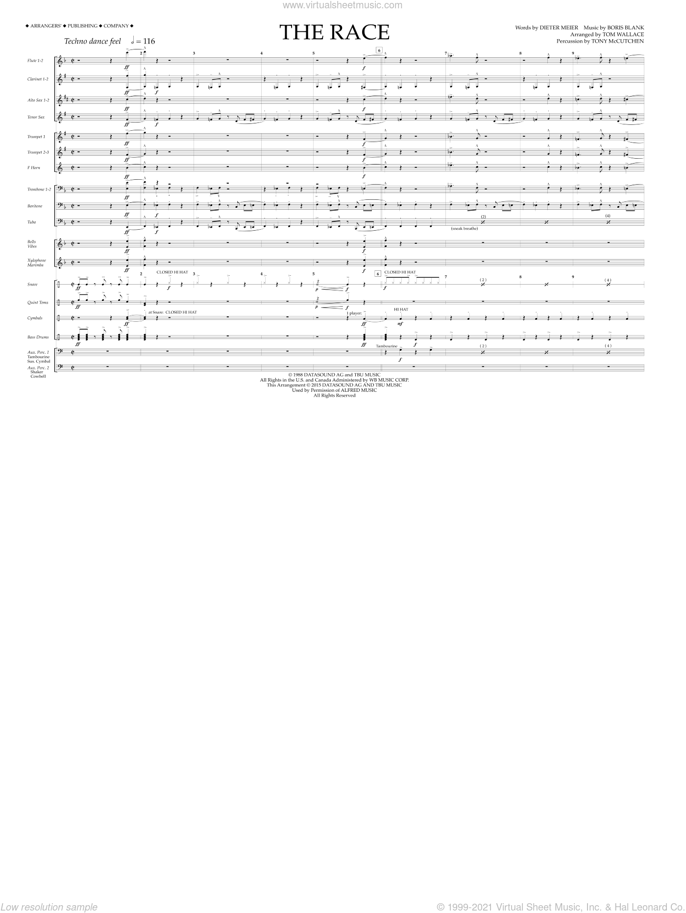 The Race sheet music for marching band (full score) by Tony McCutchen and Tom Wallace. Score Image Preview.