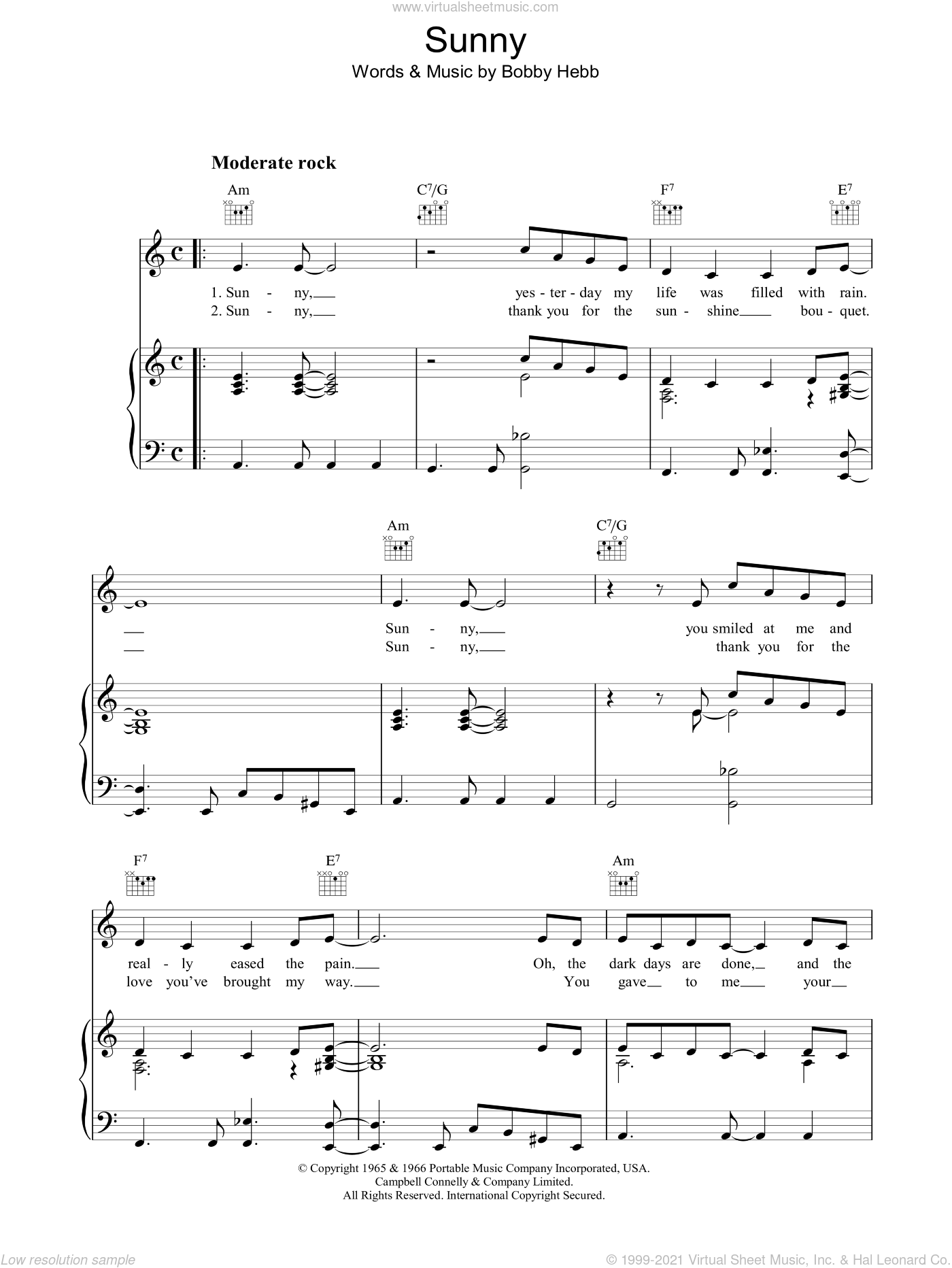 Sunny sheet music for voice, piano or guitar by Bobby Hebb, intermediate skill level