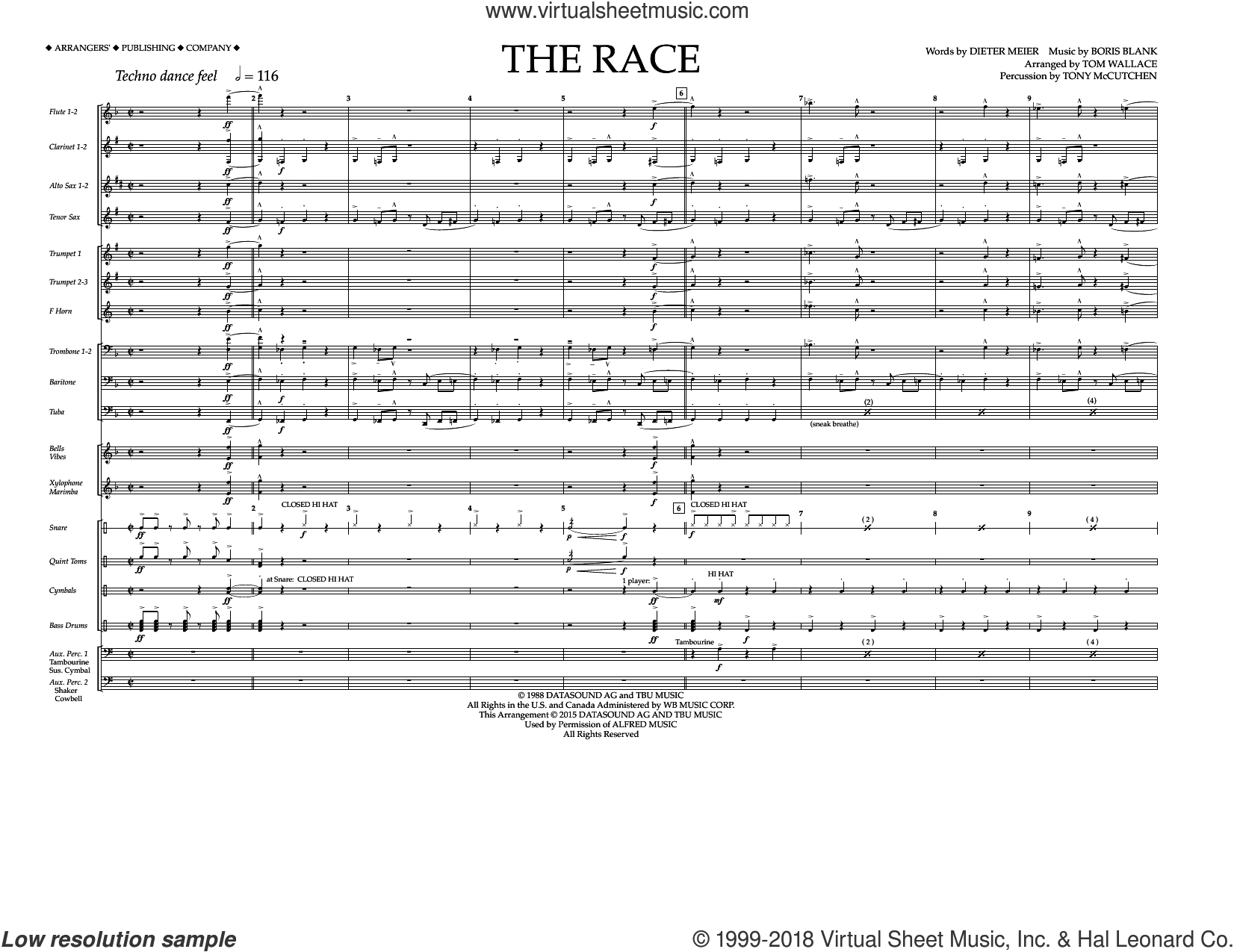 The Race (COMPLETE) sheet music for marching band by Tom Wallace, Boris Blank, Dieter Meier and Tony McCutchen, intermediate skill level