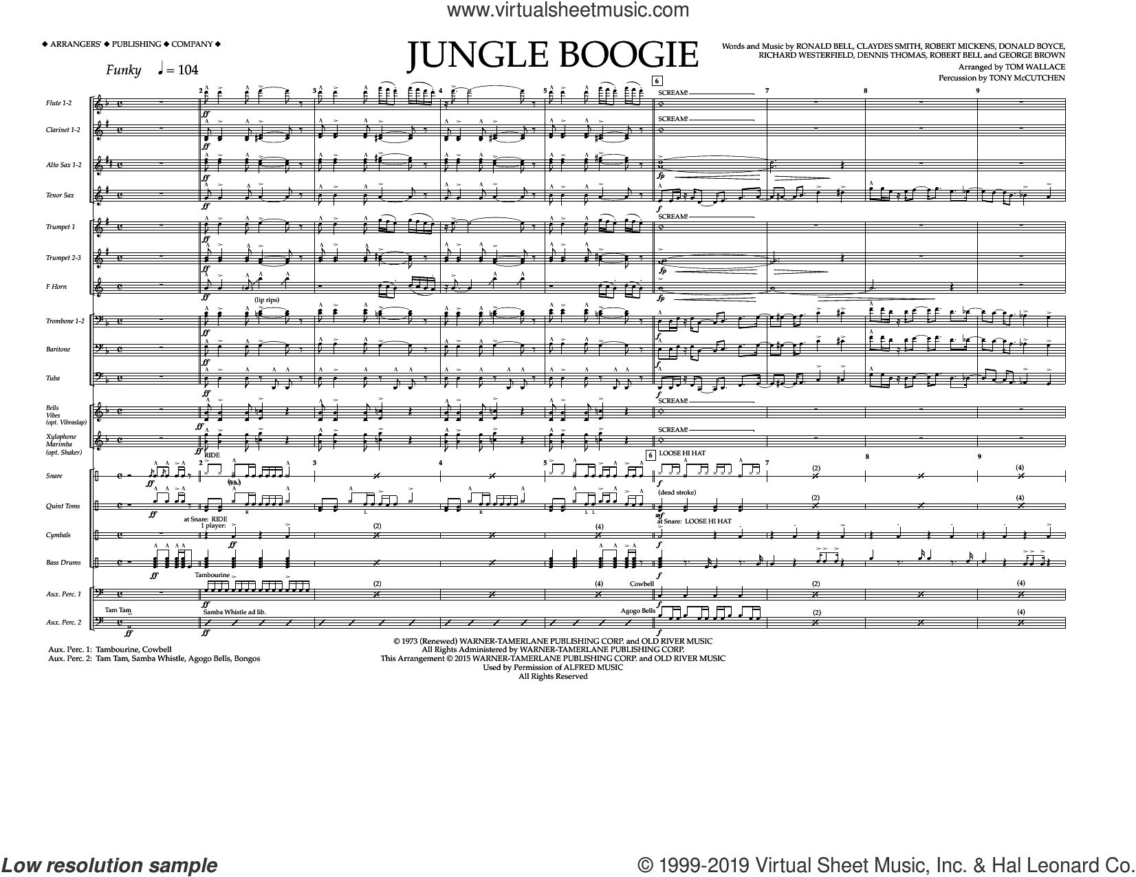 Jungle Boogie (COMPLETE) sheet music for marching band by Tom Wallace, Claydes Smith, Dennis Thomas, Donald Boyce, George Brown, Kool and the Gang, Richard Westerfield, Robert Bell, Robert Mickens and Ronald Bell, intermediate skill level