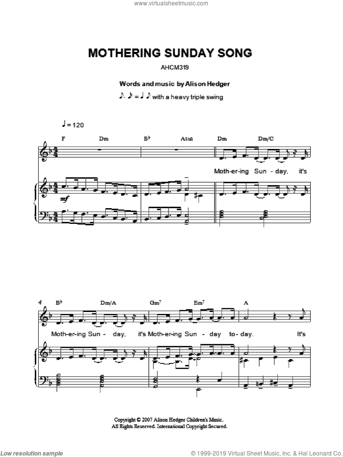 Mothering Sunday Song sheet music for voice, piano or guitar by Alison Hedger, intermediate skill level