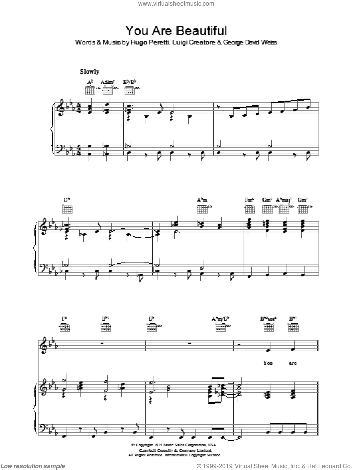 You Are Beautiful sheet music for voice, piano or guitar by Luigi Creatore and George David Weiss. Score Image Preview.