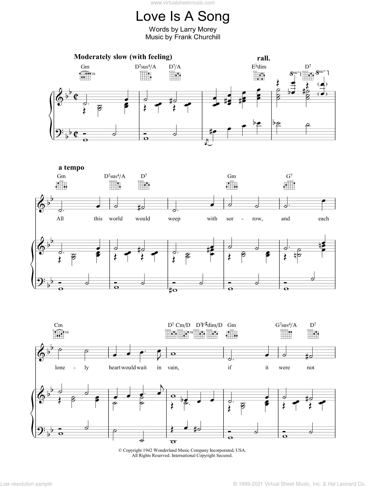 Love Is A Song (from Walt Disney's Bambi) sheet music for voice, piano or guitar by Frank Churchill and Larry Morey, intermediate. Score Image Preview.