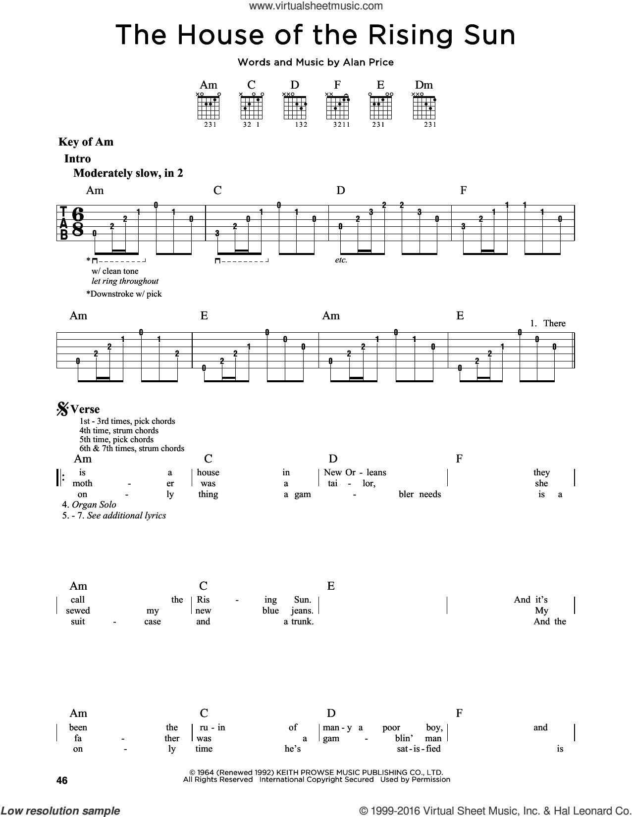 The House Of The Rising Sun sheet music for guitar solo (lead sheet) by The Animals. Score Image Preview.