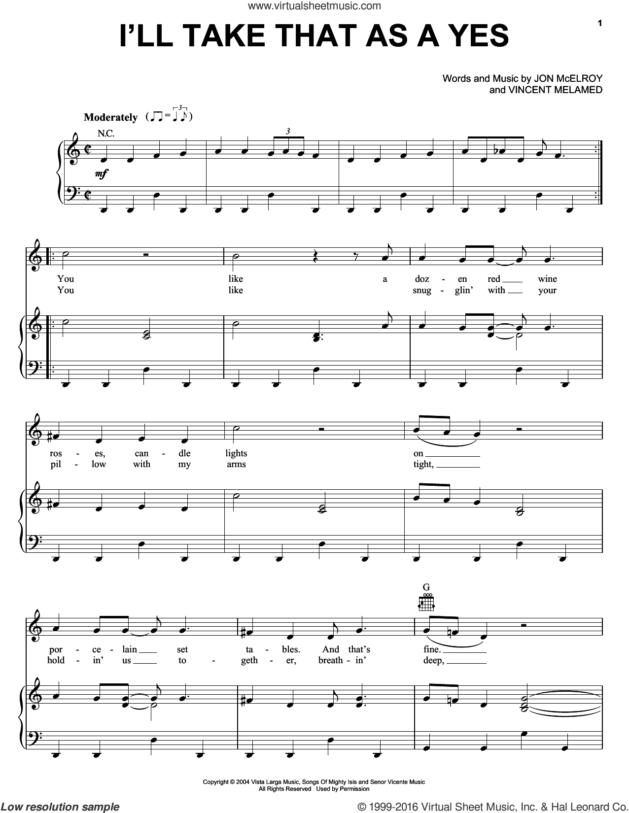 I'll Take That As A Yes sheet music for voice, piano or guitar by Vincent Melamed, Phil Vassar and Jon McElroy. Score Image Preview.