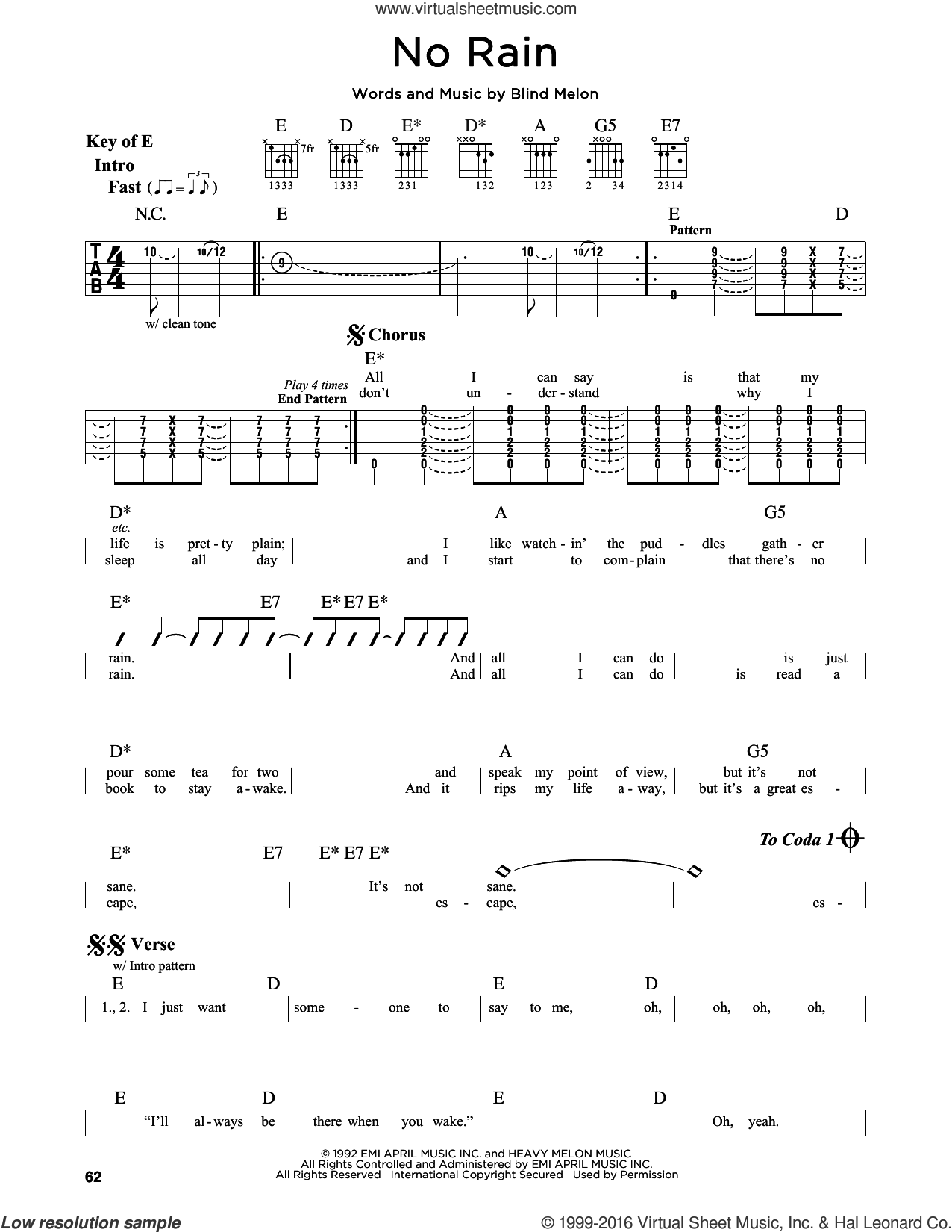 No Rain sheet music for guitar solo (lead sheet) by Blind Melon. Score Image Preview.