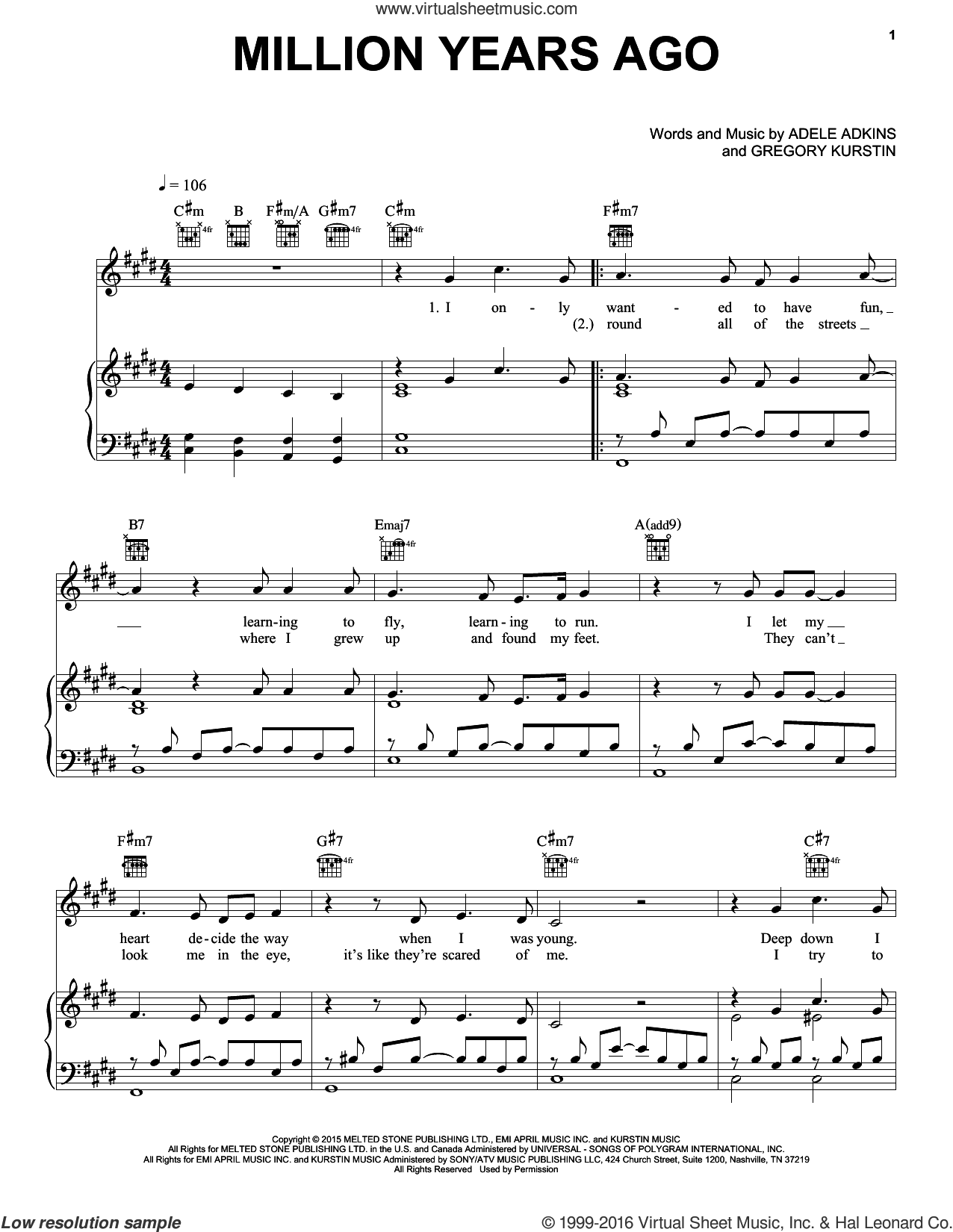 Million Years Ago sheet music for voice, piano or guitar by Adele, Adele Adkins and Gregory Kurstin, intermediate skill level
