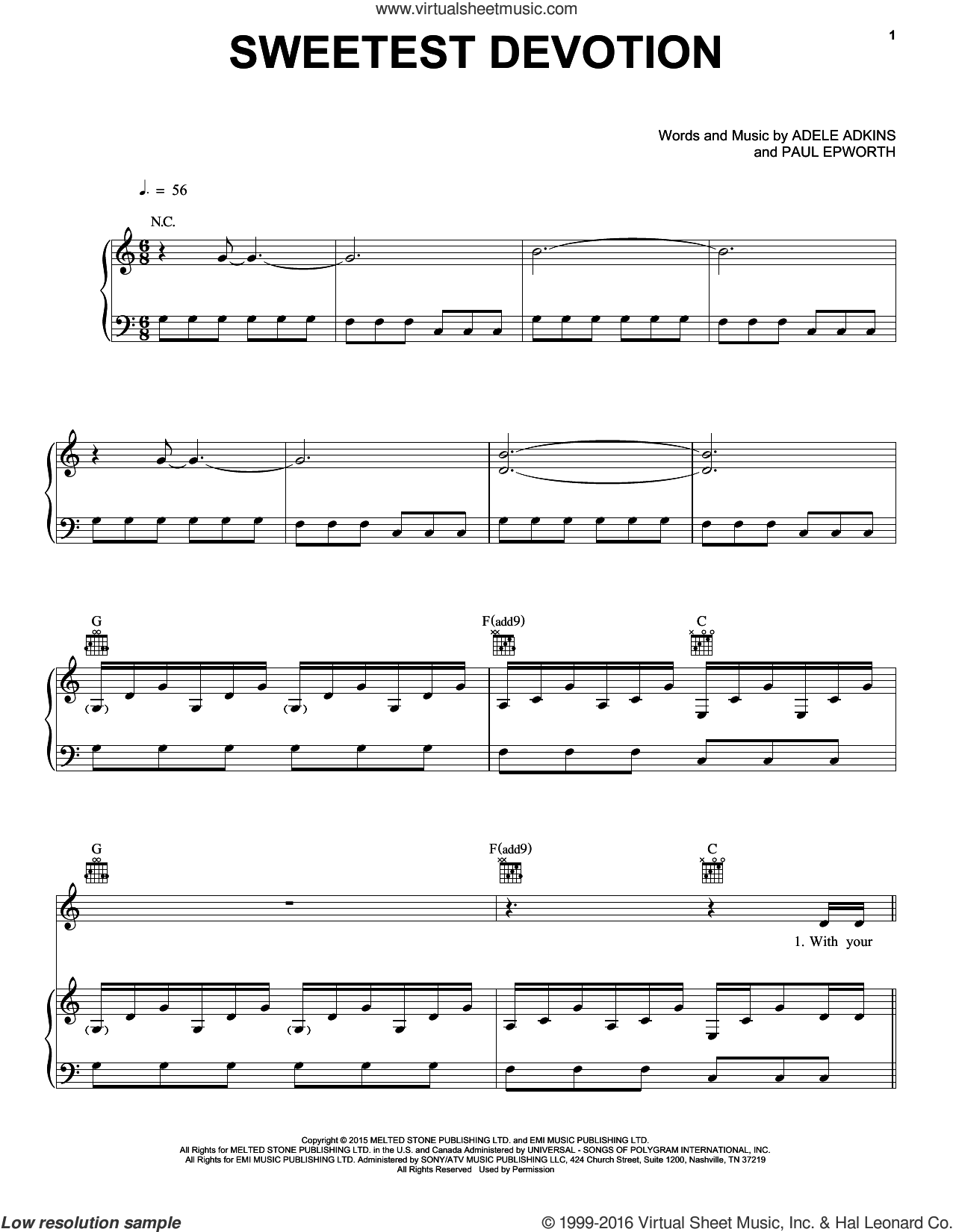 Sweetest Devotion sheet music for voice, piano or guitar by Paul Epworth, Adele and Adele Adkins. Score Image Preview.