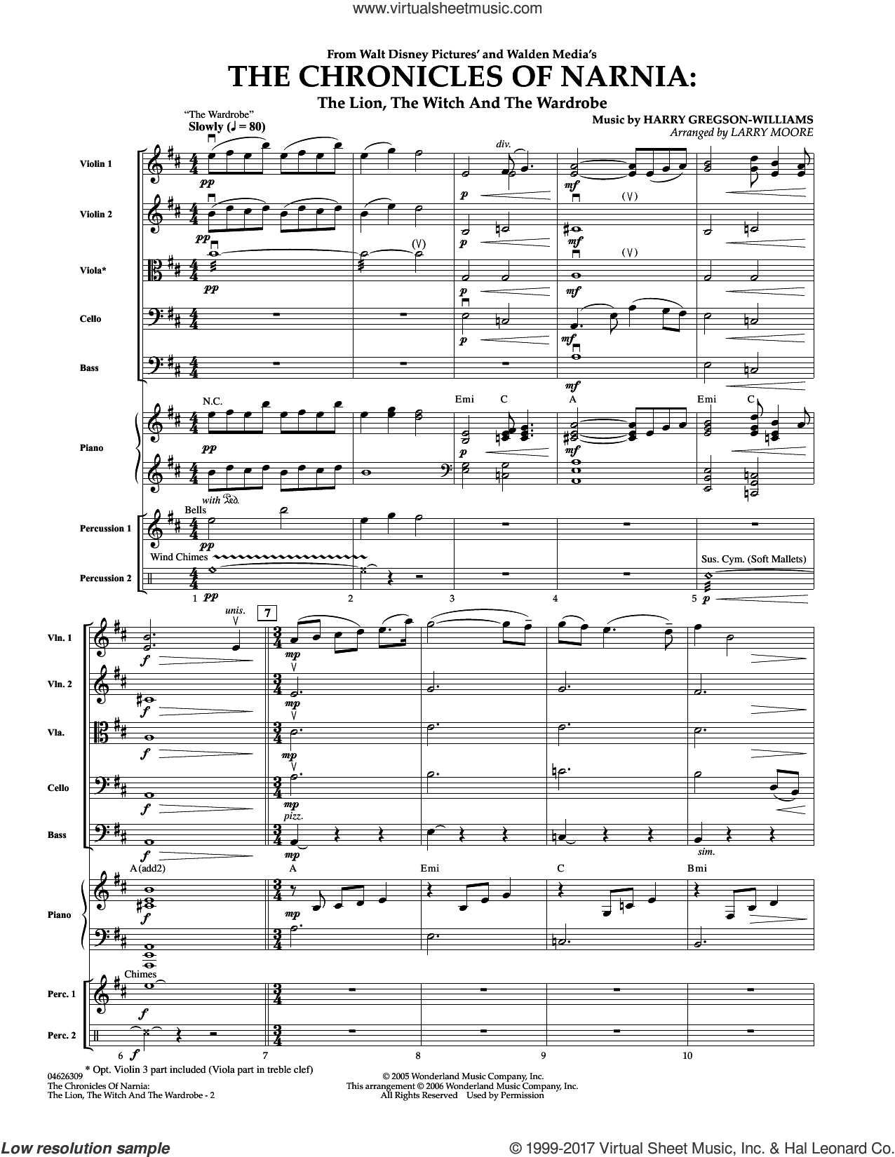 The Chronicles of Narnia (COMPLETE) sheet music for orchestra by Larry Moore and Harry Gregson-Williams, intermediate skill level