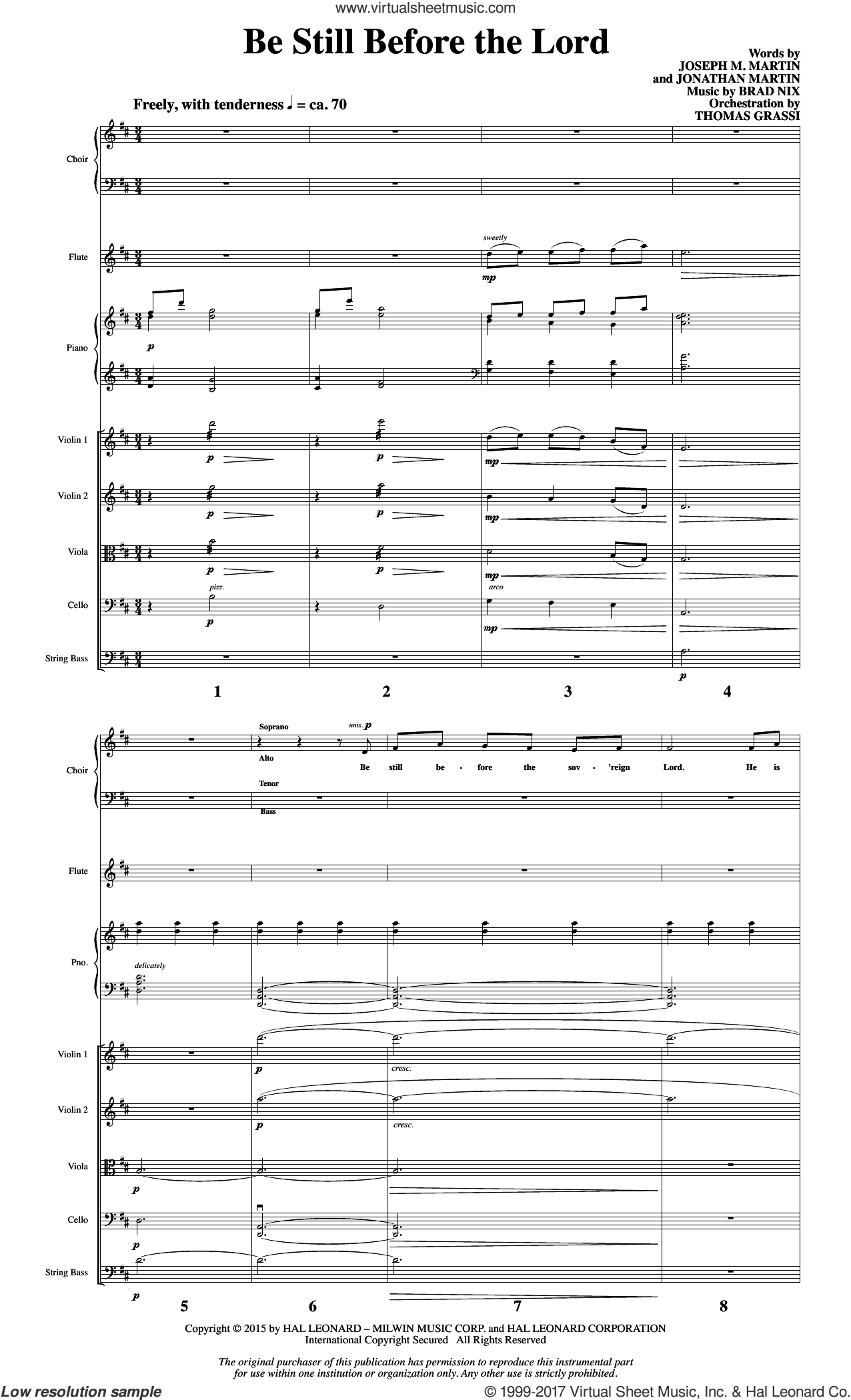Be Still Before the Lord (COMPLETE) sheet music for orchestra/band by Joseph M. Martin, Brad Nix and Jonathan Martin, intermediate