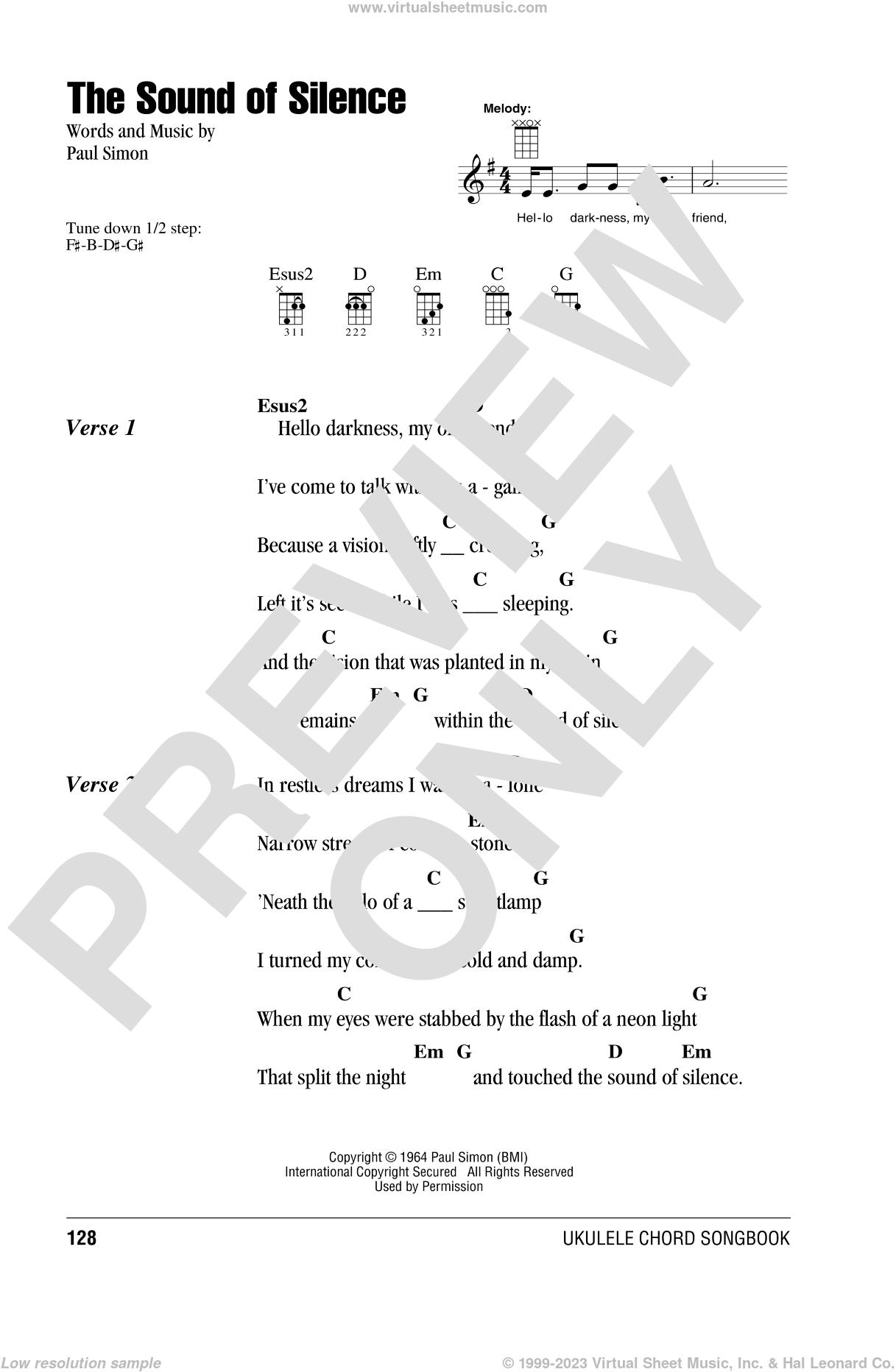 The Sound Of Silence sheet music for ukulele (chords) by Simon & Garfunkel and Paul Simon, intermediate skill level