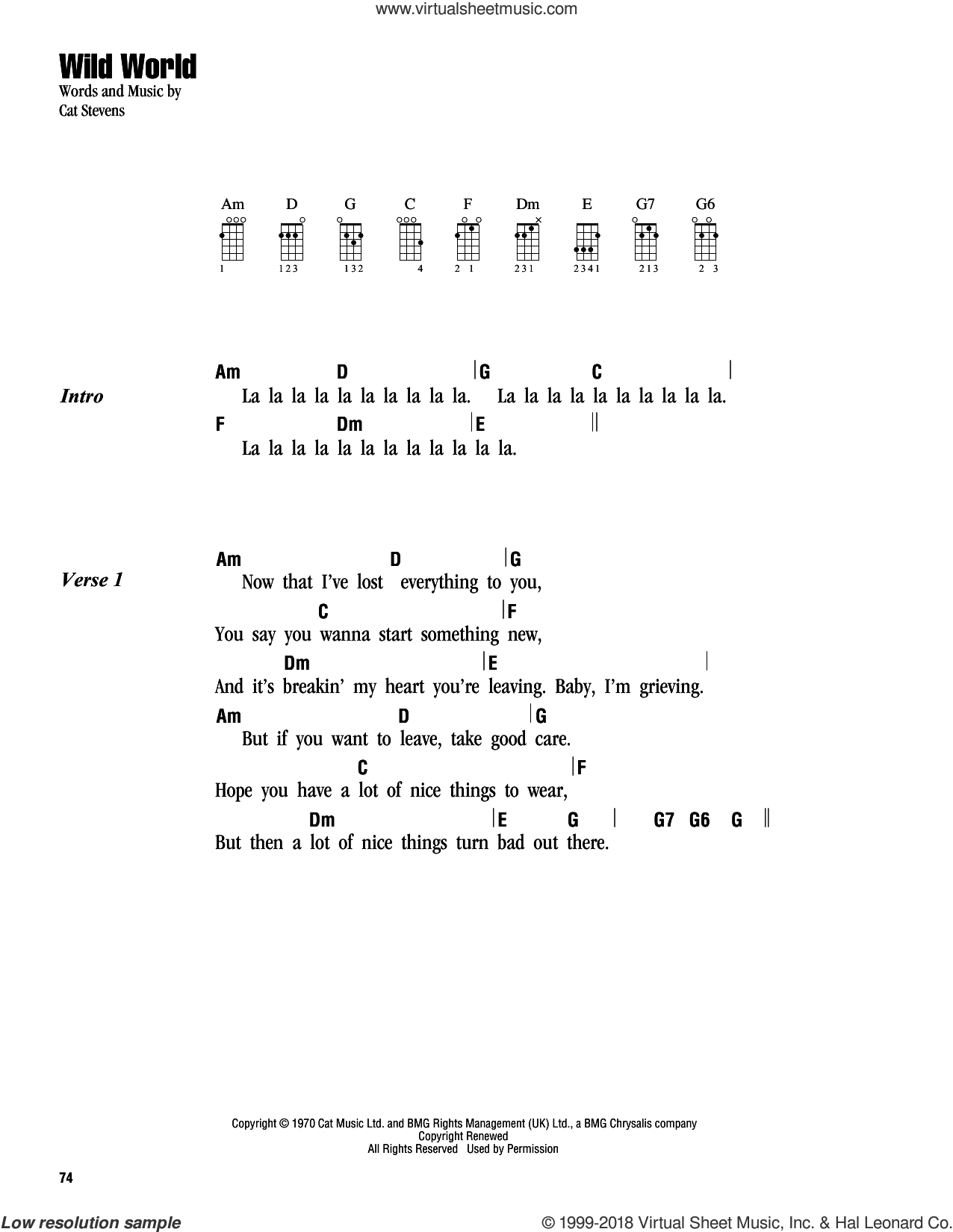 Wild World sheet music for ukulele (chords) by Cat Stevens, Maxi Priest and Yusuf Islam, intermediate skill level