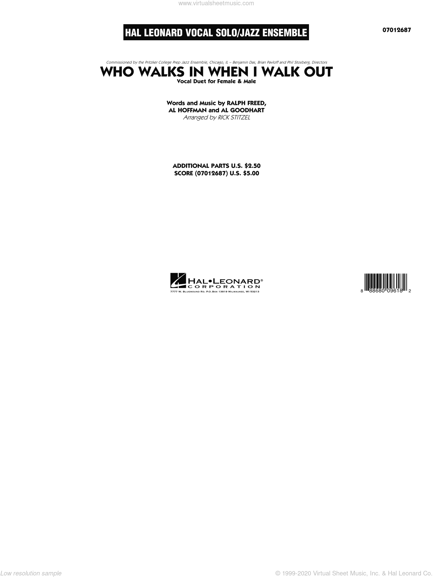 Who Walks In When I Walk Out? (Key: D minor) sheet music for jazz band (full score) by Al Hoffman, Rick Stitzel, Ella Fitzgerald, Louis Armstrong, Al Goodhart and Ralph Freed, intermediate skill level
