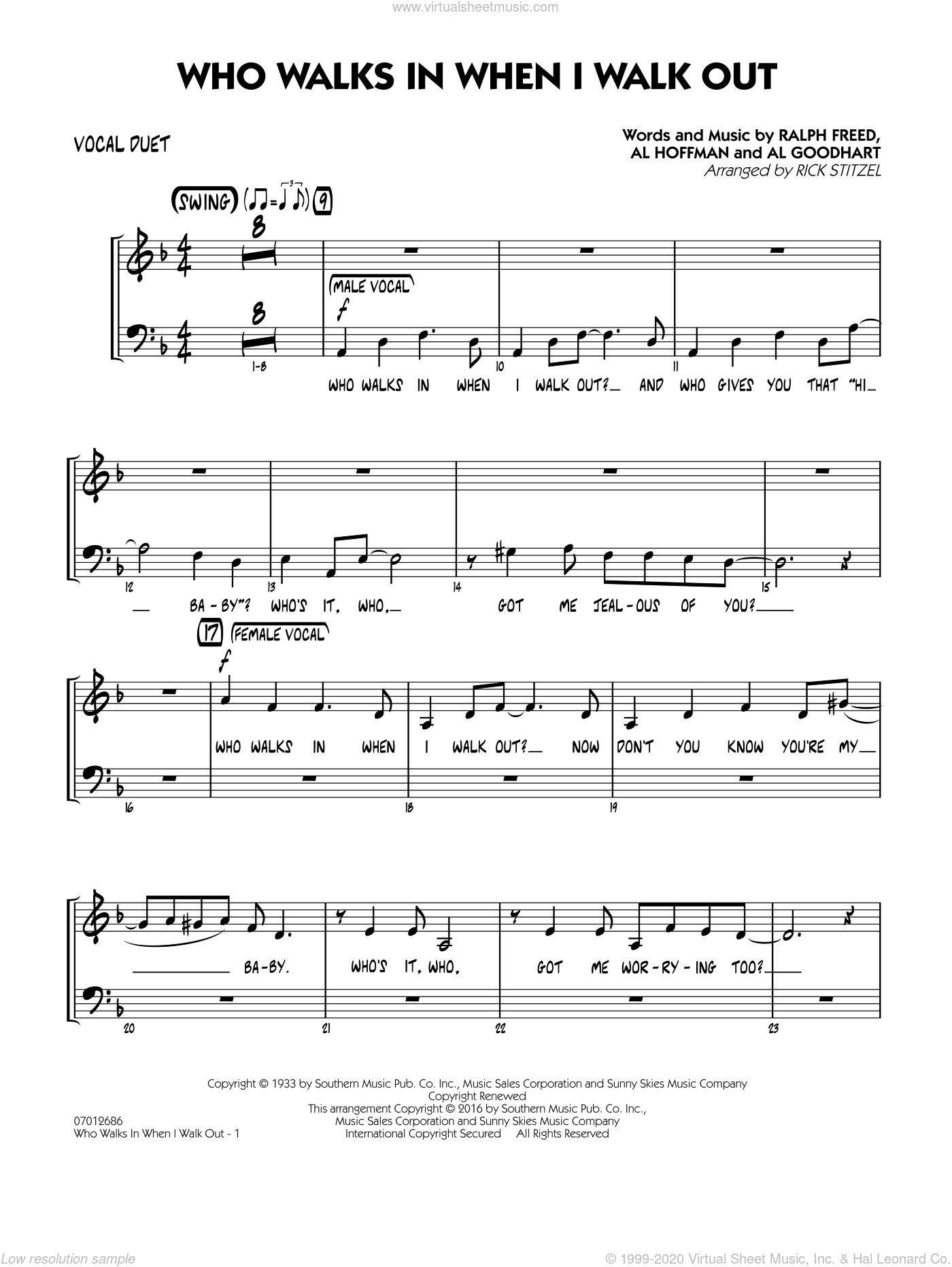 Who Walks In When I Walk Out? (Key: D minor) sheet music for jazz band (vocal duet) by Al Hoffman, Rick Stitzel, Ella Fitzgerald, Louis Armstrong, Al Goodhart and Ralph Freed, intermediate. Score Image Preview.