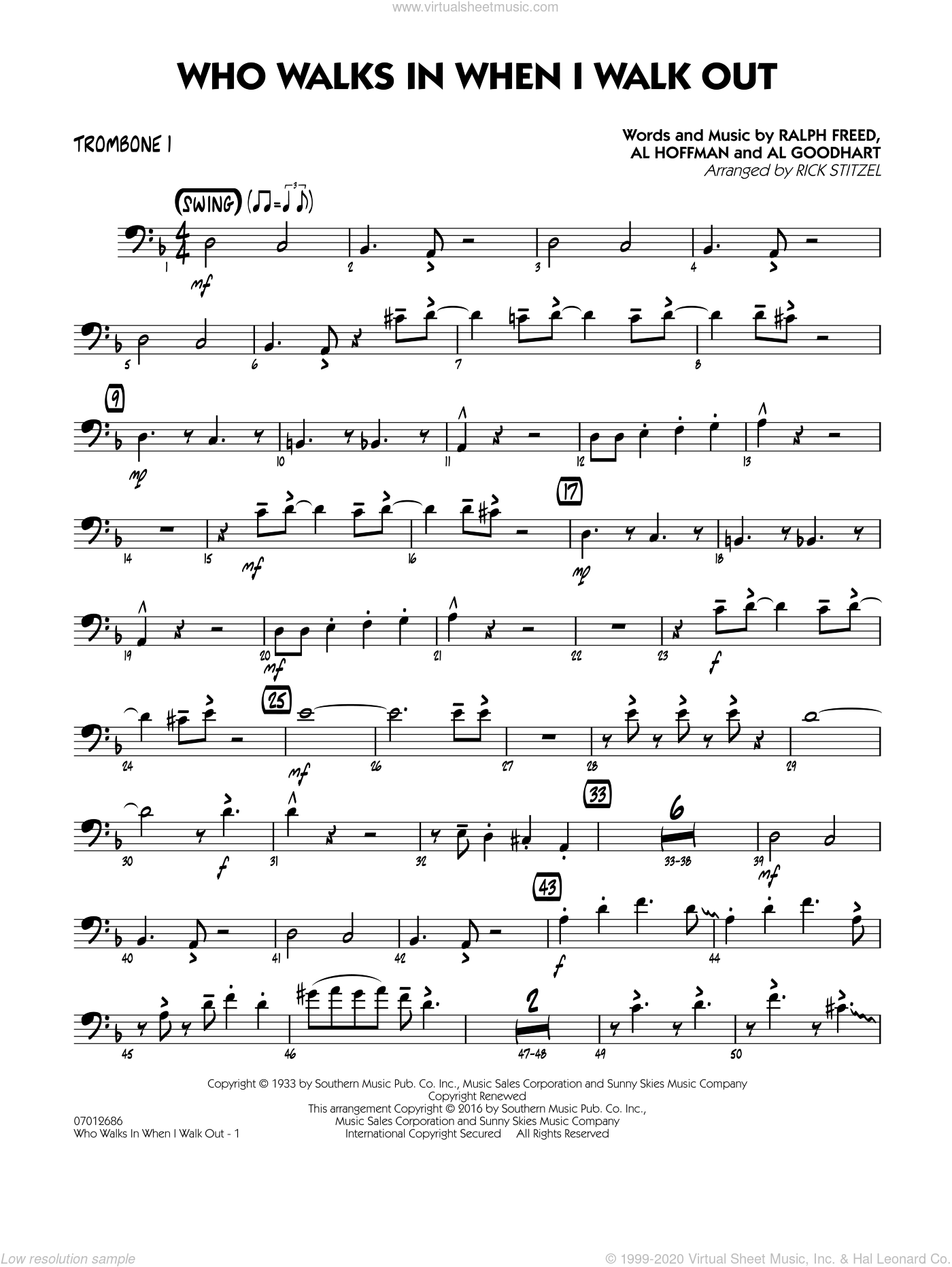 Who Walks In When I Walk Out? (Key: D minor) sheet music for jazz band (trombone 1) by Rick Stitzel, Ella Fitzgerald, Louis Armstrong, Al Goodhart, Al Hoffman and Ralph Freed. Score Image Preview.
