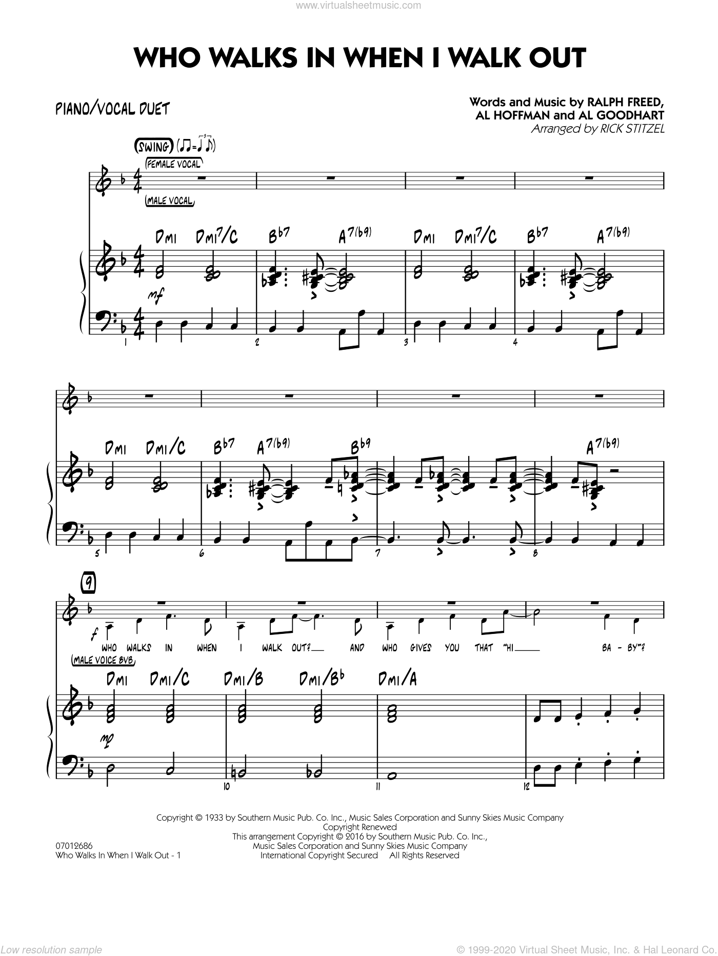 Who Walks In When I Walk Out? (Key: D minor) sheet music for jazz band (piano/vocal duet) by Rick Stitzel, Ella Fitzgerald, Louis Armstrong, Al Goodhart, Al Hoffman and Ralph Freed. Score Image Preview.