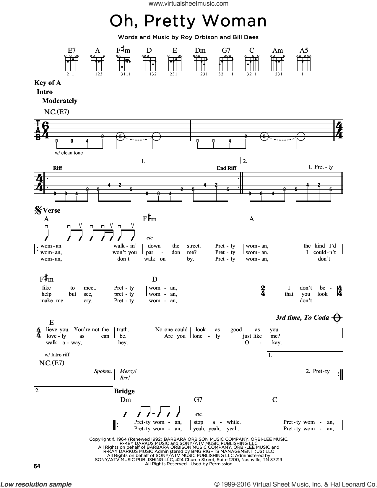 Oh, Pretty Woman sheet music for guitar solo (lead sheet) by Bill Dees, Edward Van Halen and Roy Orbison. Score Image Preview.
