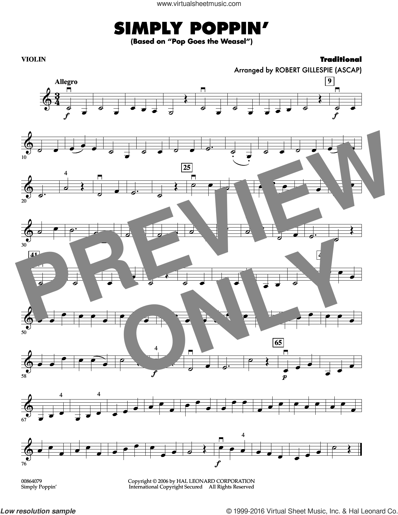 Simply Poppin' (based On Pop Goes The Weasel) sheet music for orchestra (violin) by Robert Gillespie, intermediate skill level