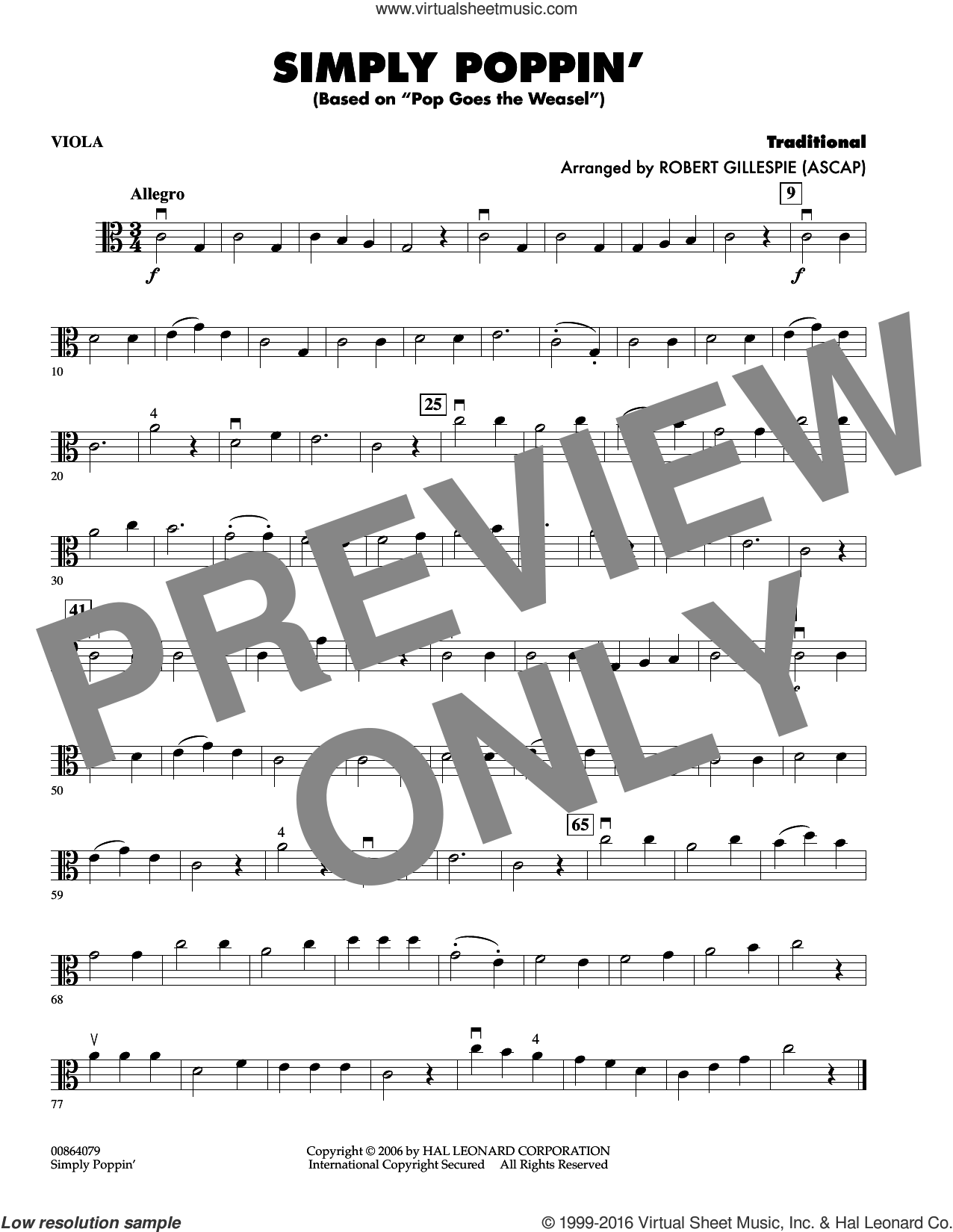 Simply Poppin' (based On Pop Goes The Weasel) sheet music for orchestra (viola) by Robert Gillespie, intermediate