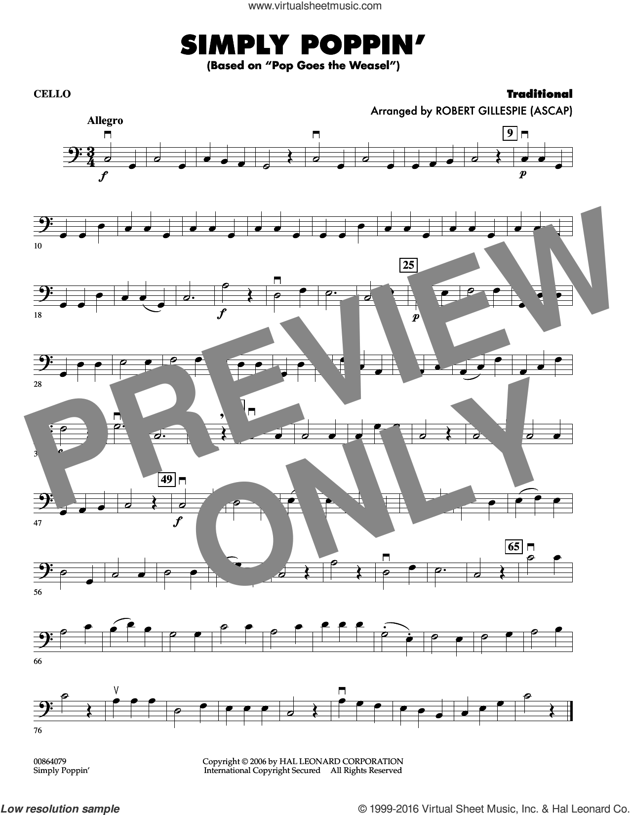 Simply Poppin' (based On Pop Goes The Weasel) sheet music for orchestra (cello) by Robert Gillespie, intermediate skill level