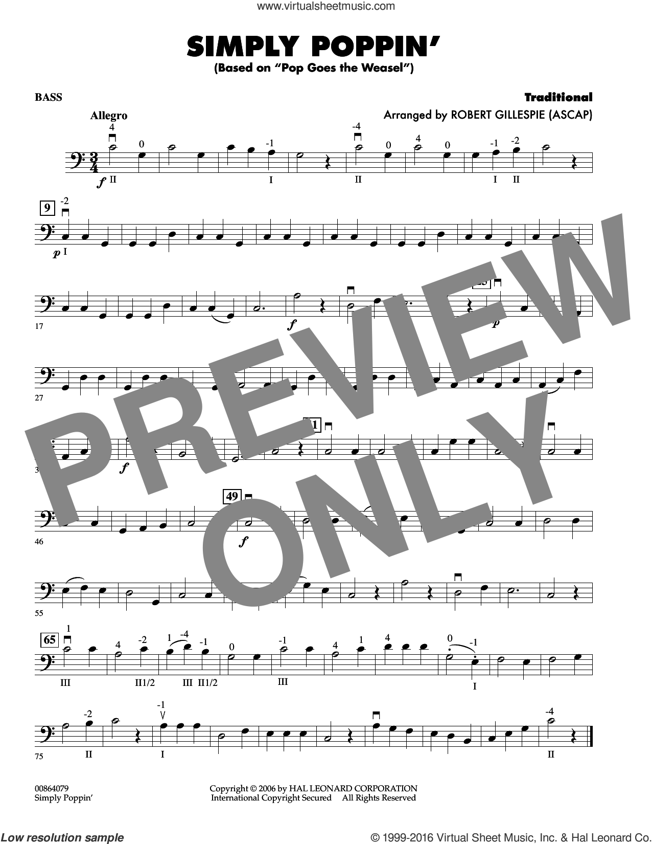 Simply Poppin' (based On Pop Goes The Weasel) sheet music for orchestra (bass) by Robert Gillespie. Score Image Preview.