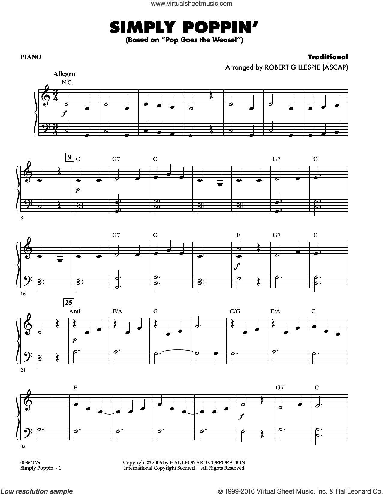 Simply Poppin' (based On Pop Goes The Weasel) sheet music for orchestra (piano) by Robert Gillespie, intermediate
