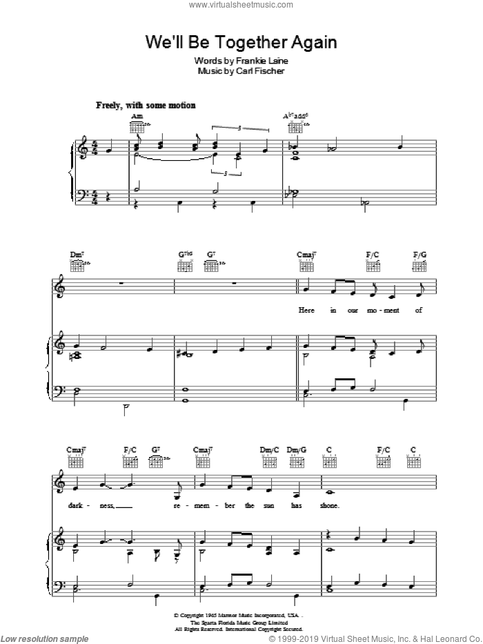 We'll Be Together Again sheet music for voice, piano or guitar by Carl Fischer and Frankie Laine. Score Image Preview.