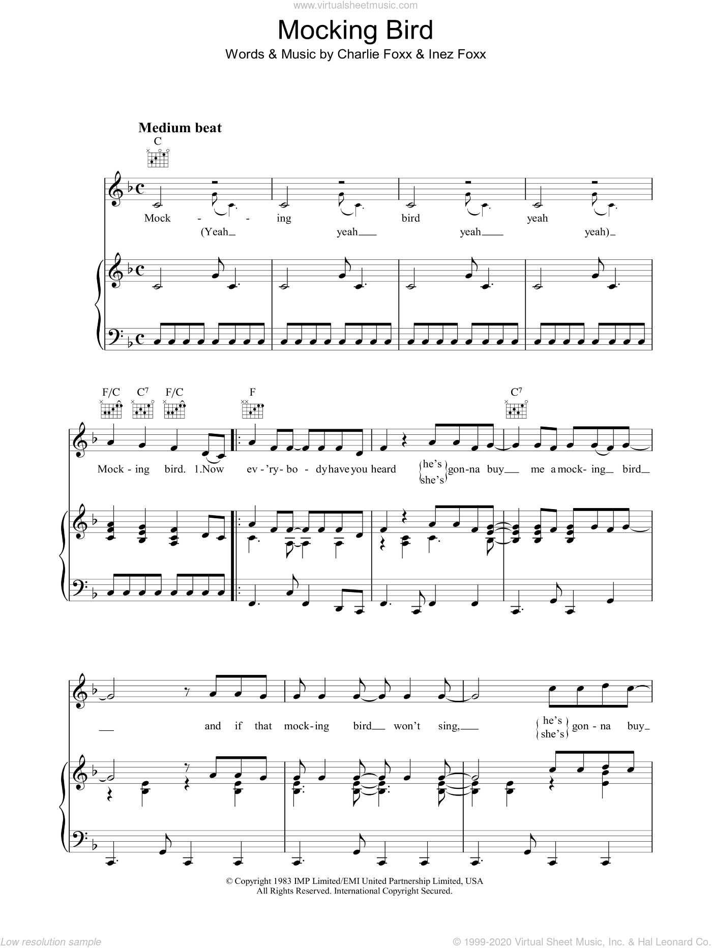 Mocking Bird sheet music for voice, piano or guitar by Charlie Foxx and Inez Foxx, intermediate skill level