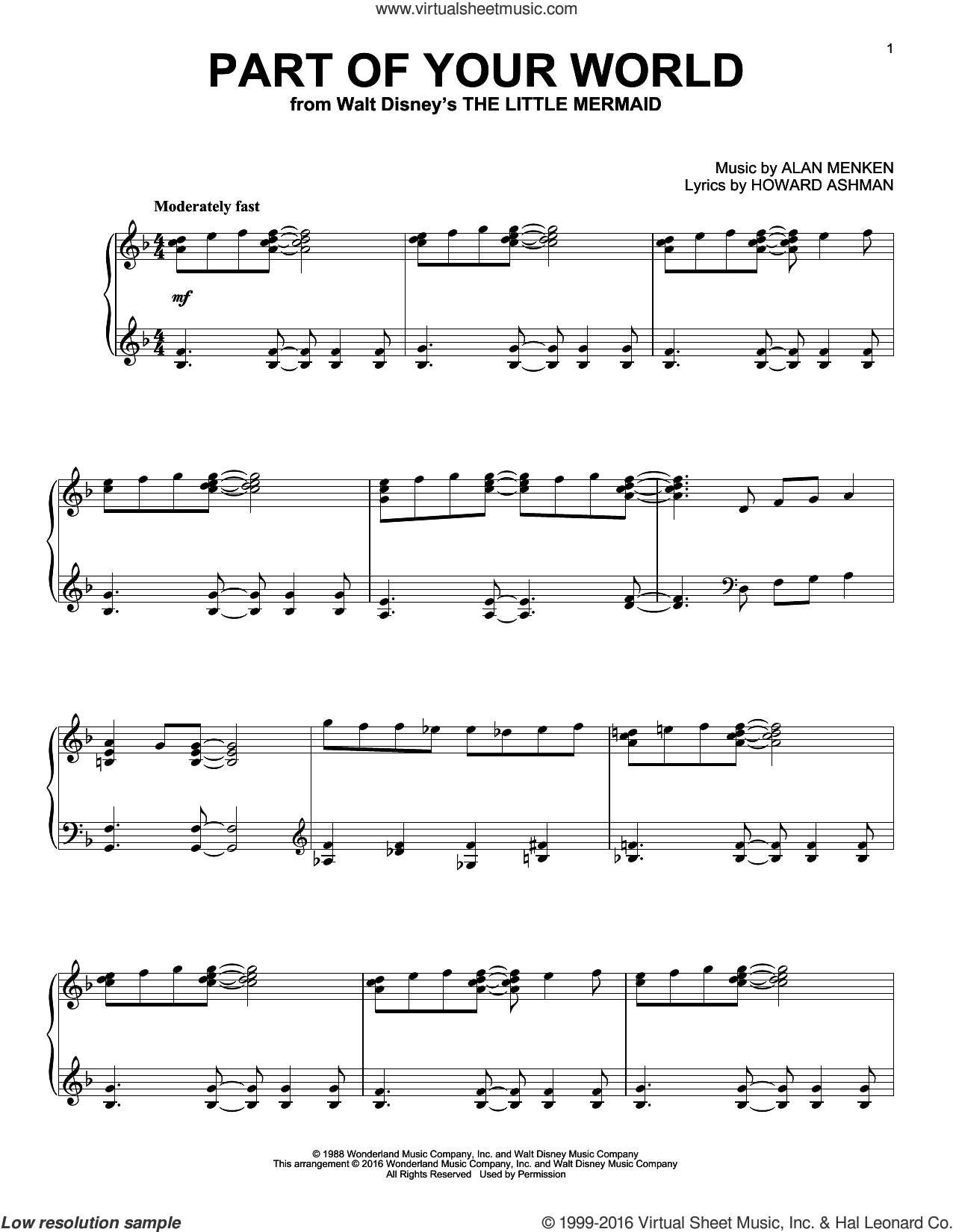 Part Of Your World sheet music for piano solo by Alan Menken and Howard Ashman, intermediate skill level