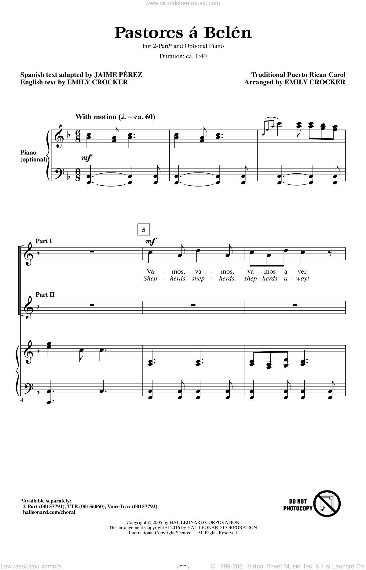 Pastores A Belen sheet music for choir (duets) by Emily Crocker and Miscellaneous. Score Image Preview.