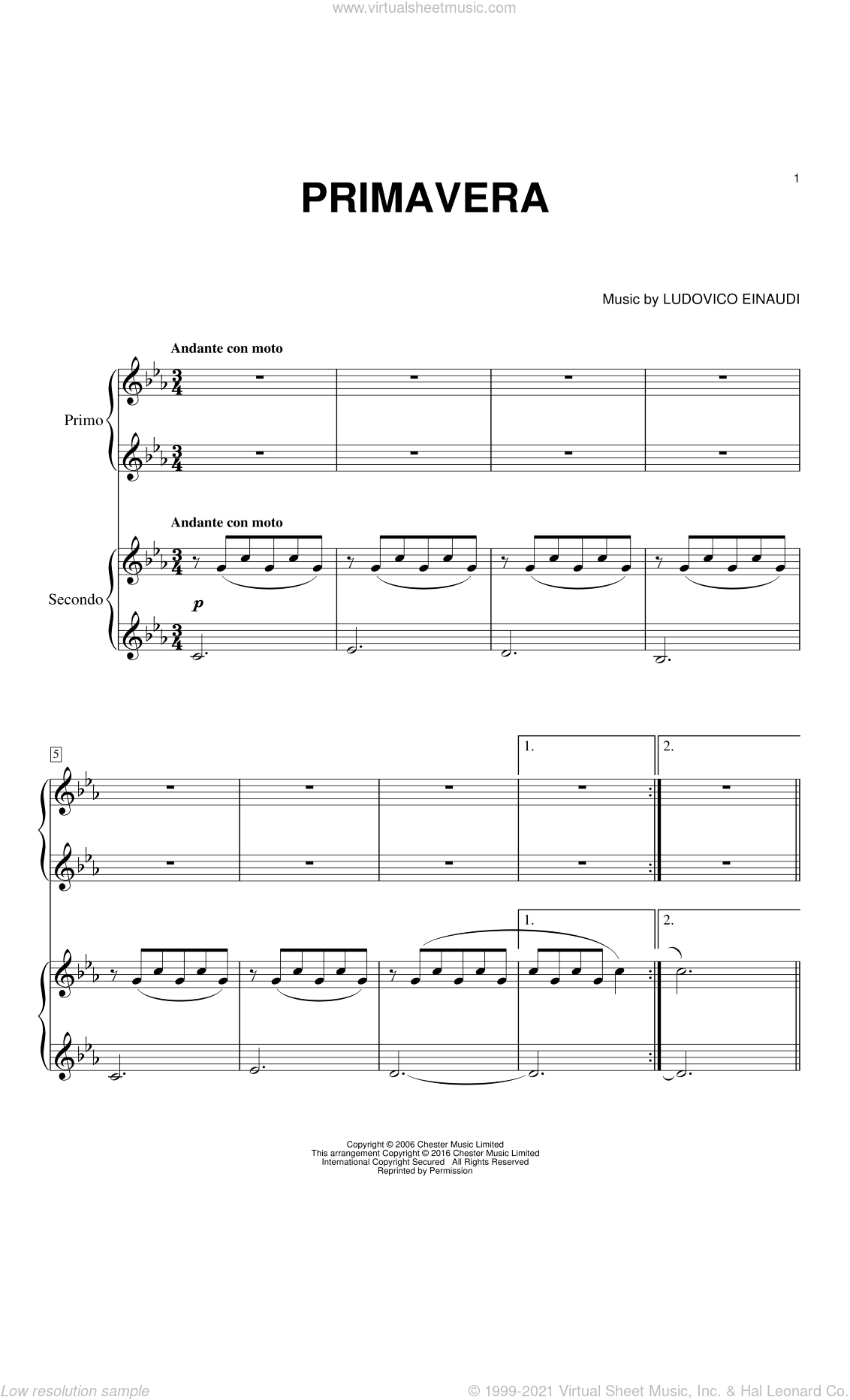 Primavera sheet music for piano four hands by Ludovico Einaudi, classical score, intermediate skill level