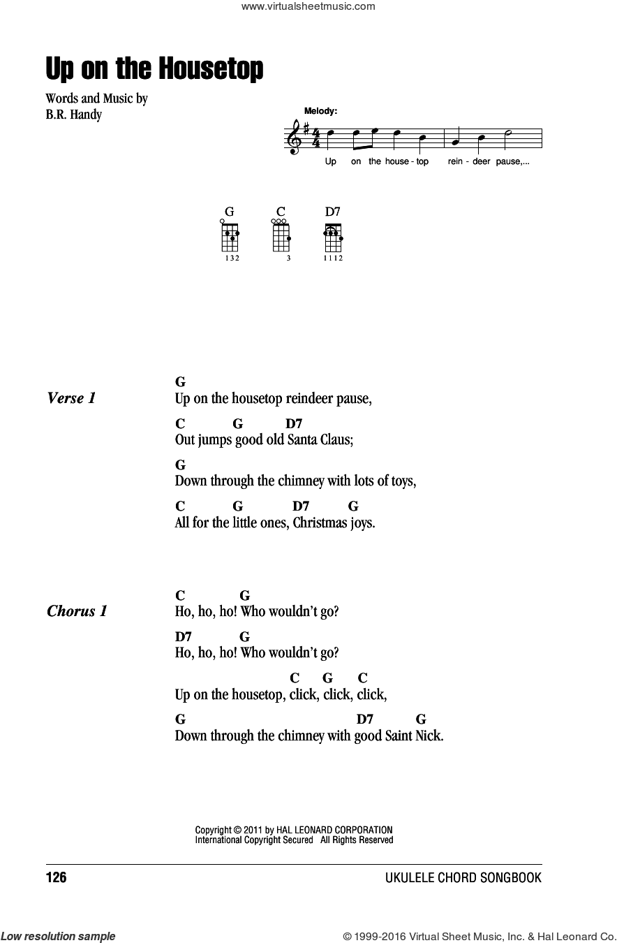 Up On The Housetop sheet music for ukulele (chords) by Benjamin Hanby, intermediate skill level