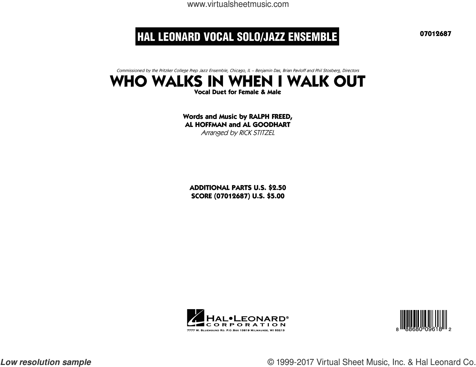 Who Walks In When I Walk Out? (Key: D Minor) (COMPLETE) sheet music for jazz band by Louis Armstrong, Al Goodhart, Al Hoffman, Ella Fitzgerald, Ralph Freed and Rick Stitzel, intermediate duet. Score Image Preview.