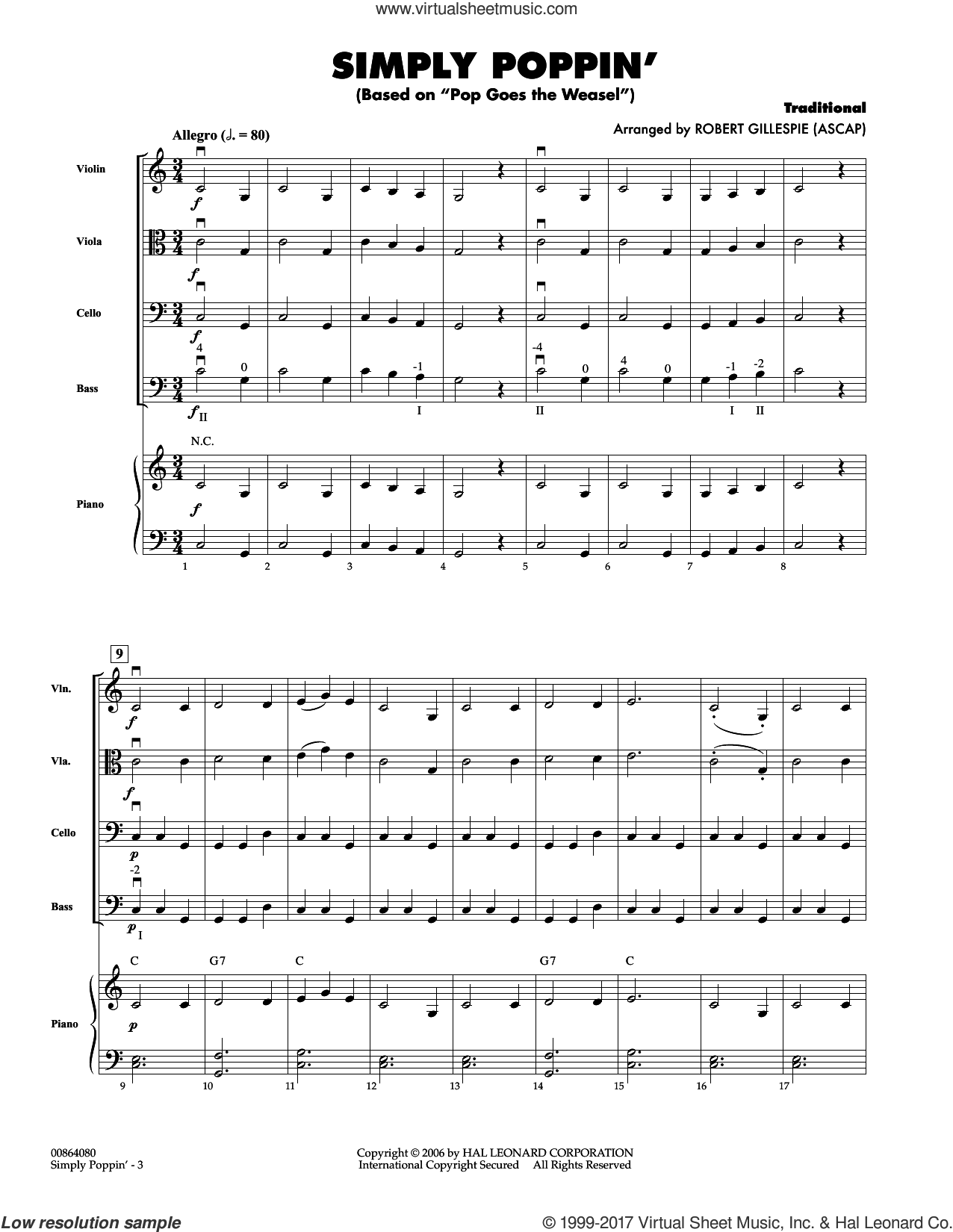 Simply Poppin' (Based On Pop Goes The Weasel) (COMPLETE) sheet music for orchestra by Robert Gillespie, intermediate orchestra. Score Image Preview.