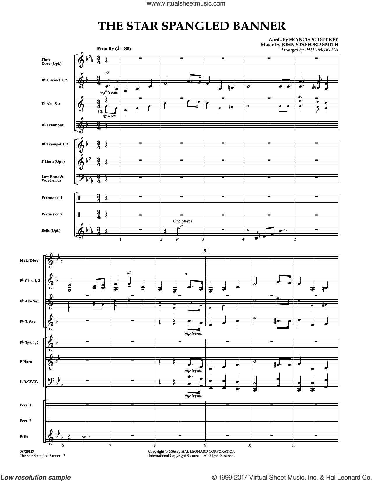 The Star Spangled Banner (COMPLETE) sheet music for concert band by Paul Murtha, Francis Scott Key and John Stafford Smith, intermediate concert band. Score Image Preview.