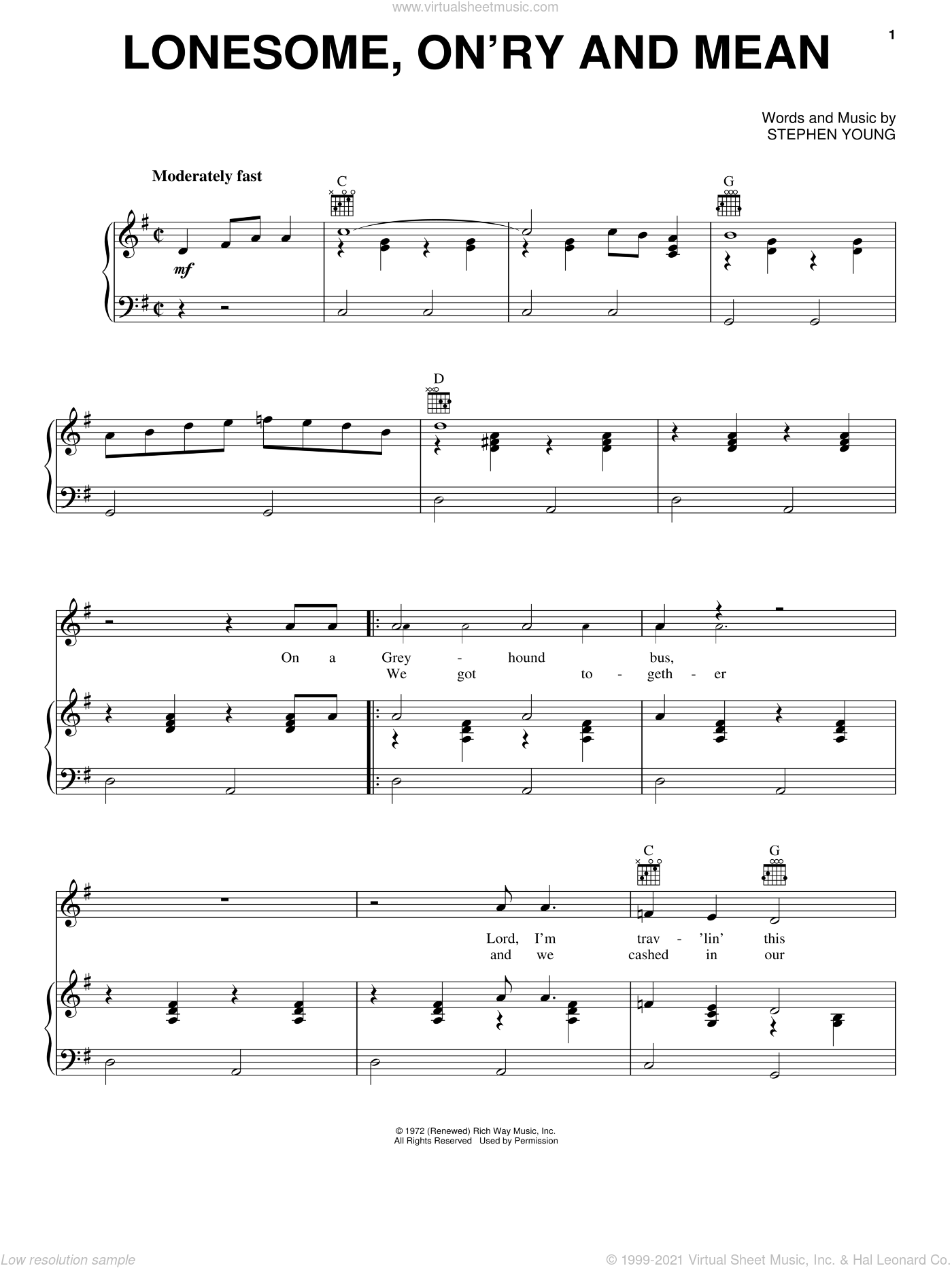 Lonesome, On'ry And Mean sheet music for voice, piano or guitar by Waylon Jennings. Score Image Preview.
