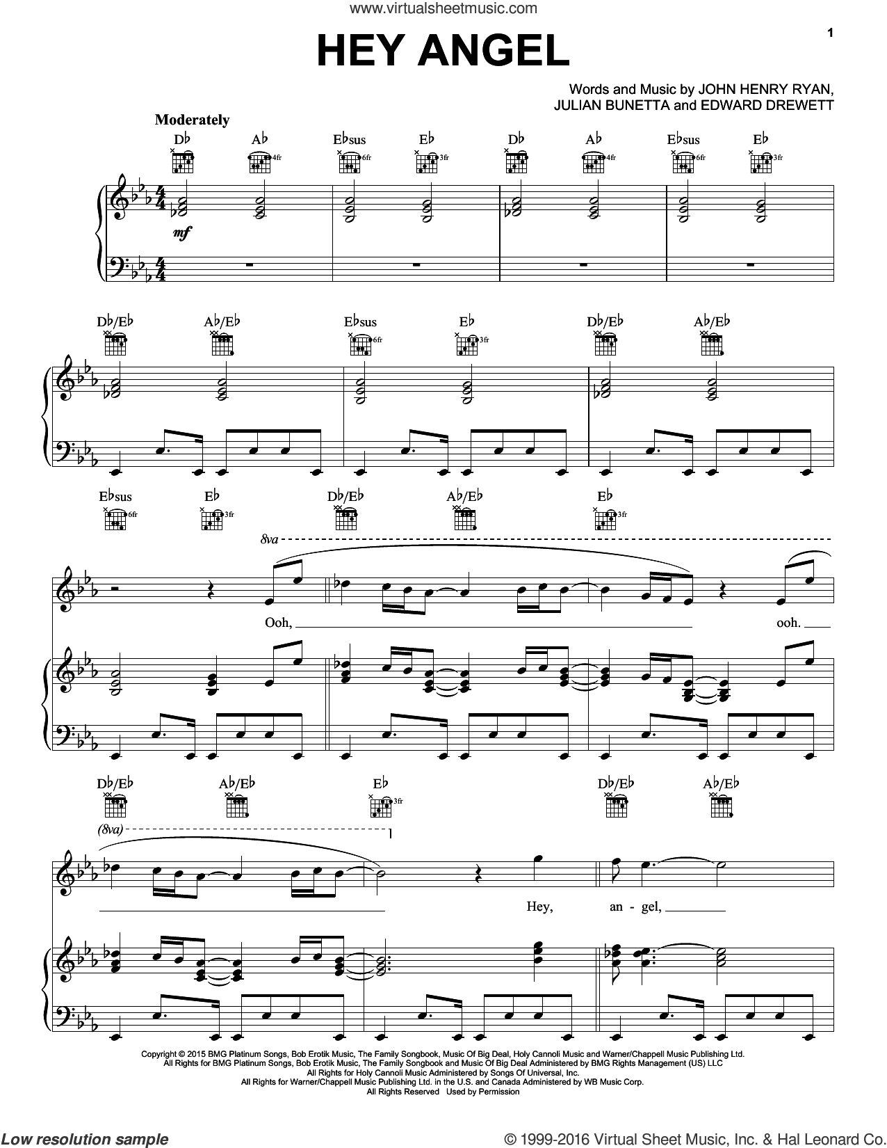 Hey Angel sheet music for voice, piano or guitar by One Direction, Edward Drewett and Julian Bunetta. Score Image Preview.