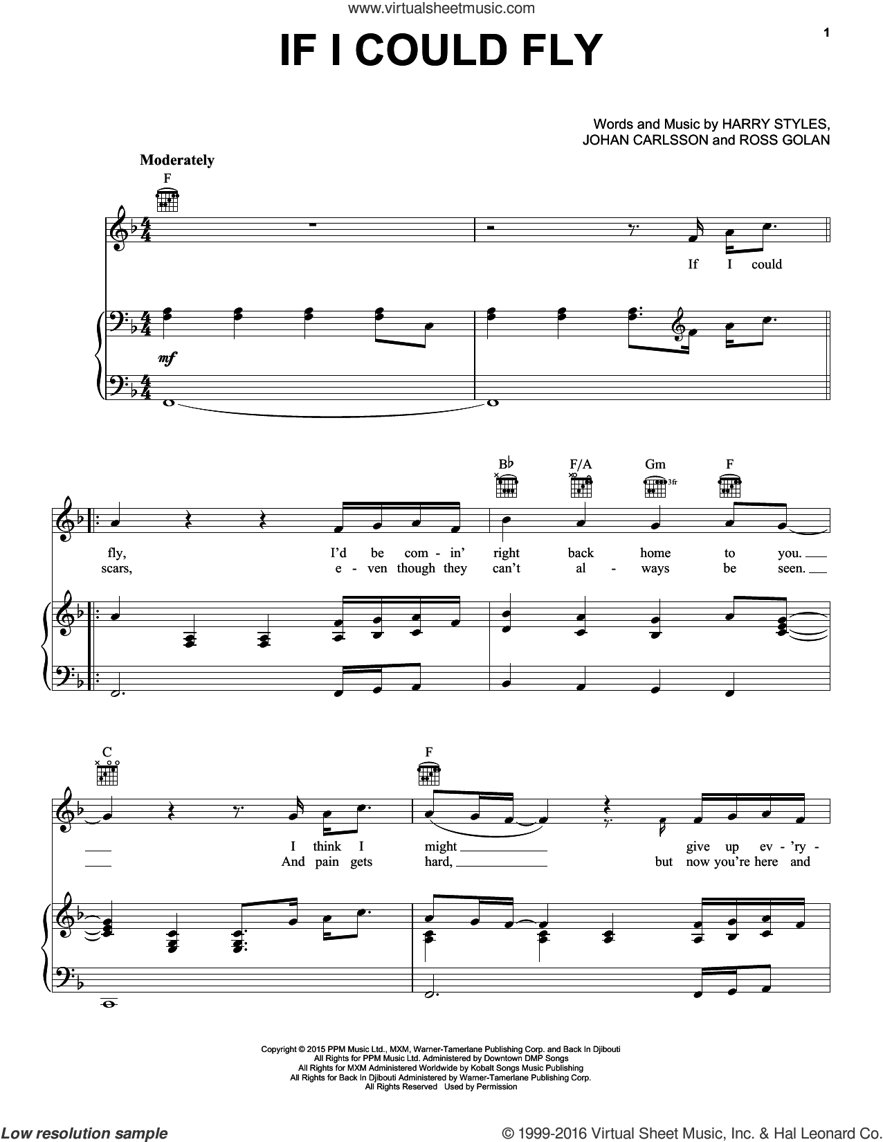 If I Could Fly sheet music for voice, piano or guitar by One Direction, Harry Styles, Johan Carlsson and Ross Golan, intermediate skill level