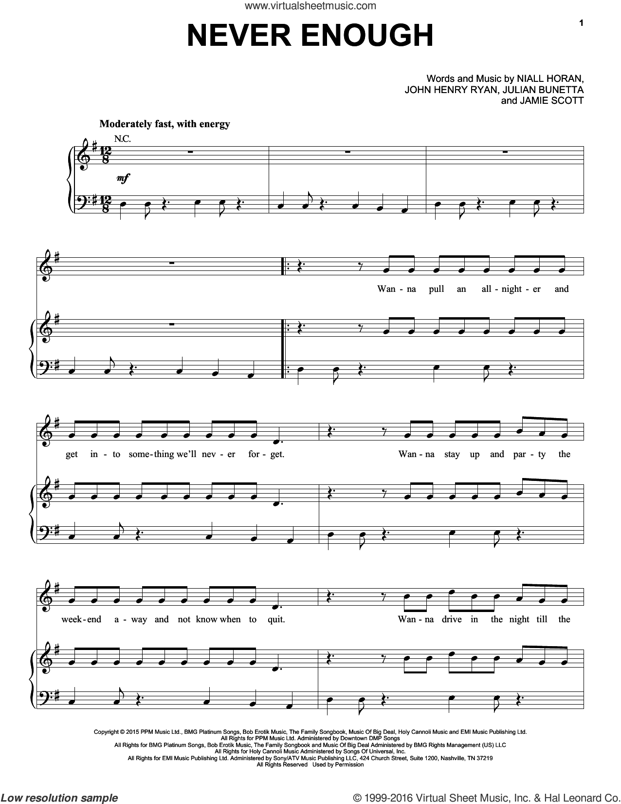 Never Enough sheet music for voice, piano or guitar by One Direction, Jamie Scott, John Henry Ryan, Julian Bunetta and Niall Horan, intermediate skill level