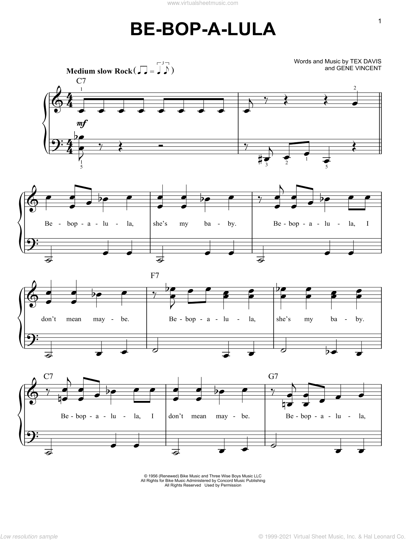 Be-Bop-A-Lula sheet music for piano solo by Gene Vincent and Tex Davis, beginner skill level