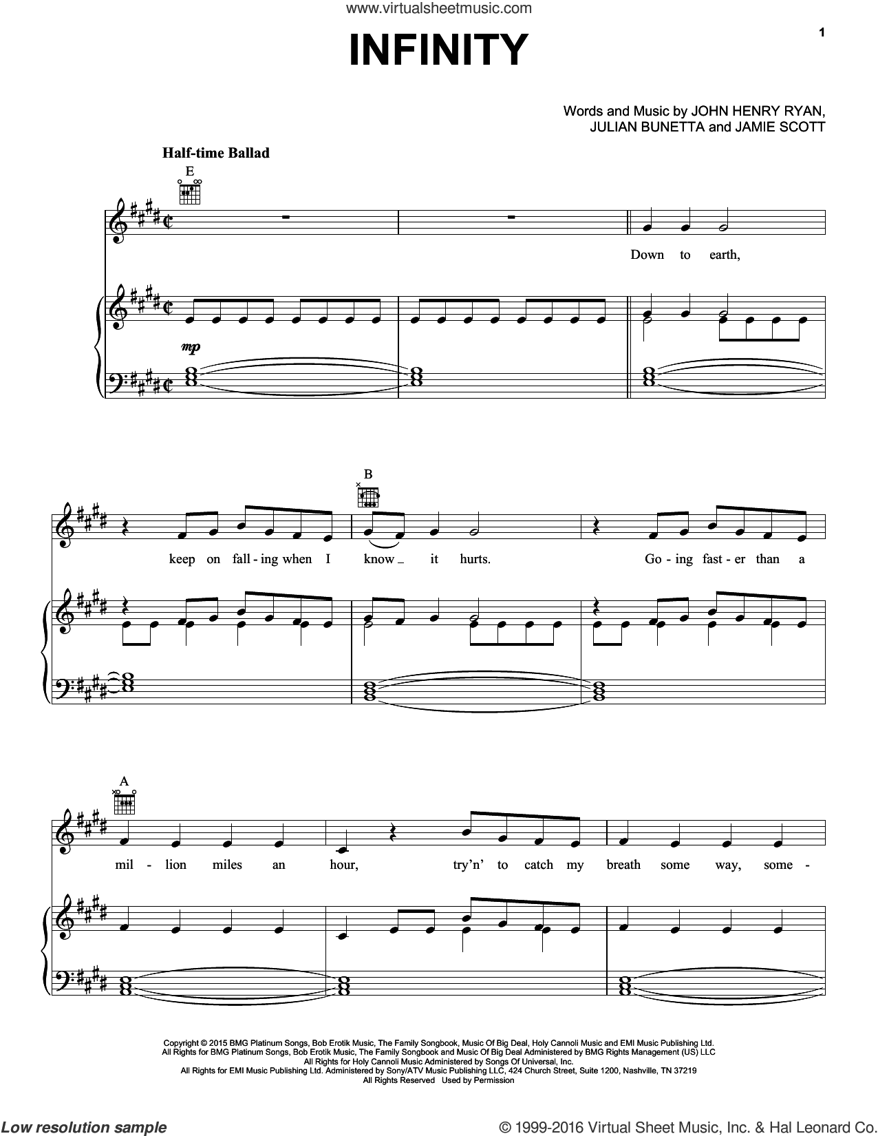 Infinity sheet music for voice, piano or guitar by One Direction, Jamie Scott, John Henry Ryan and Julian Bunetta, intermediate skill level
