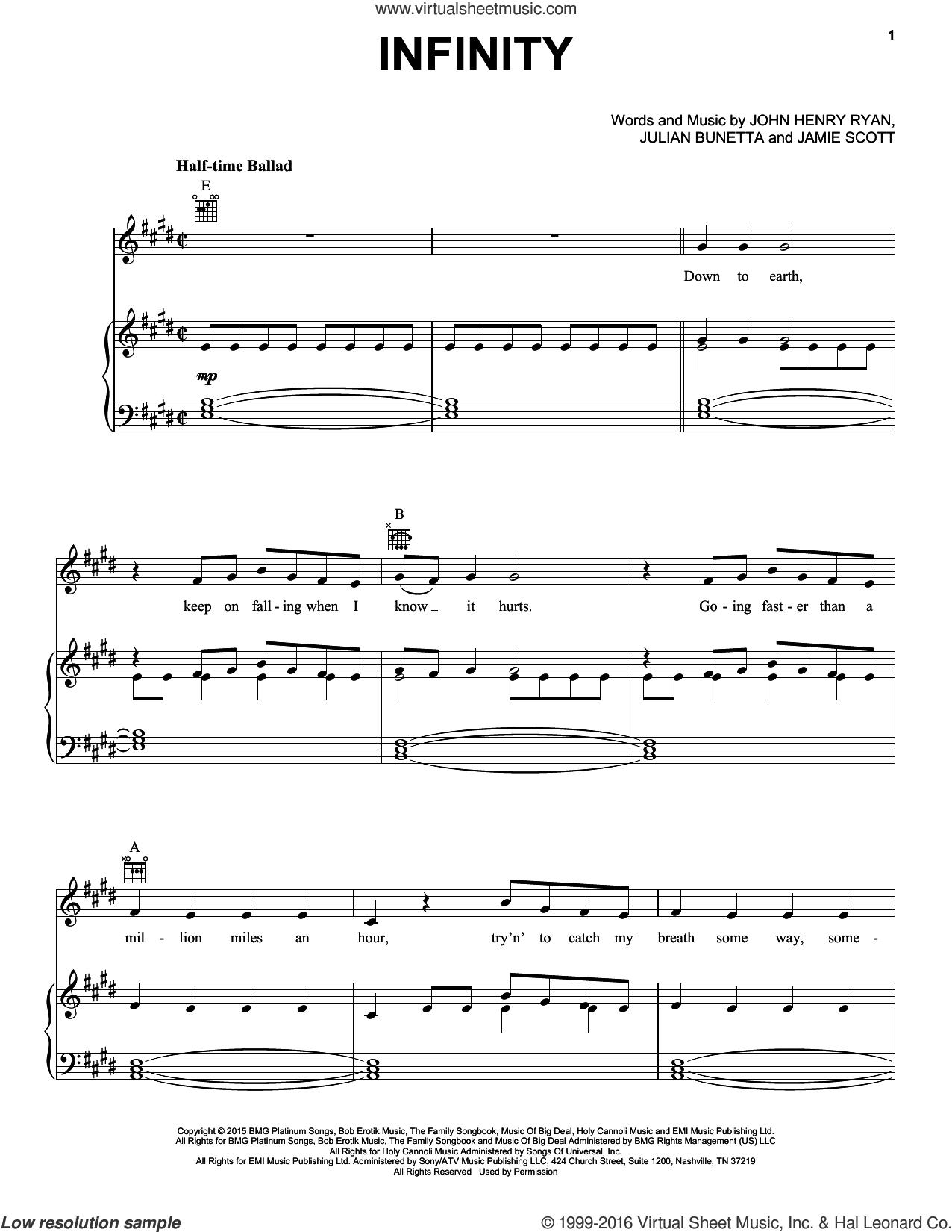Infinity sheet music for voice, piano or guitar by One Direction, Jamie Scott, John Henry Ryan and Julian Bunetta, intermediate skill level