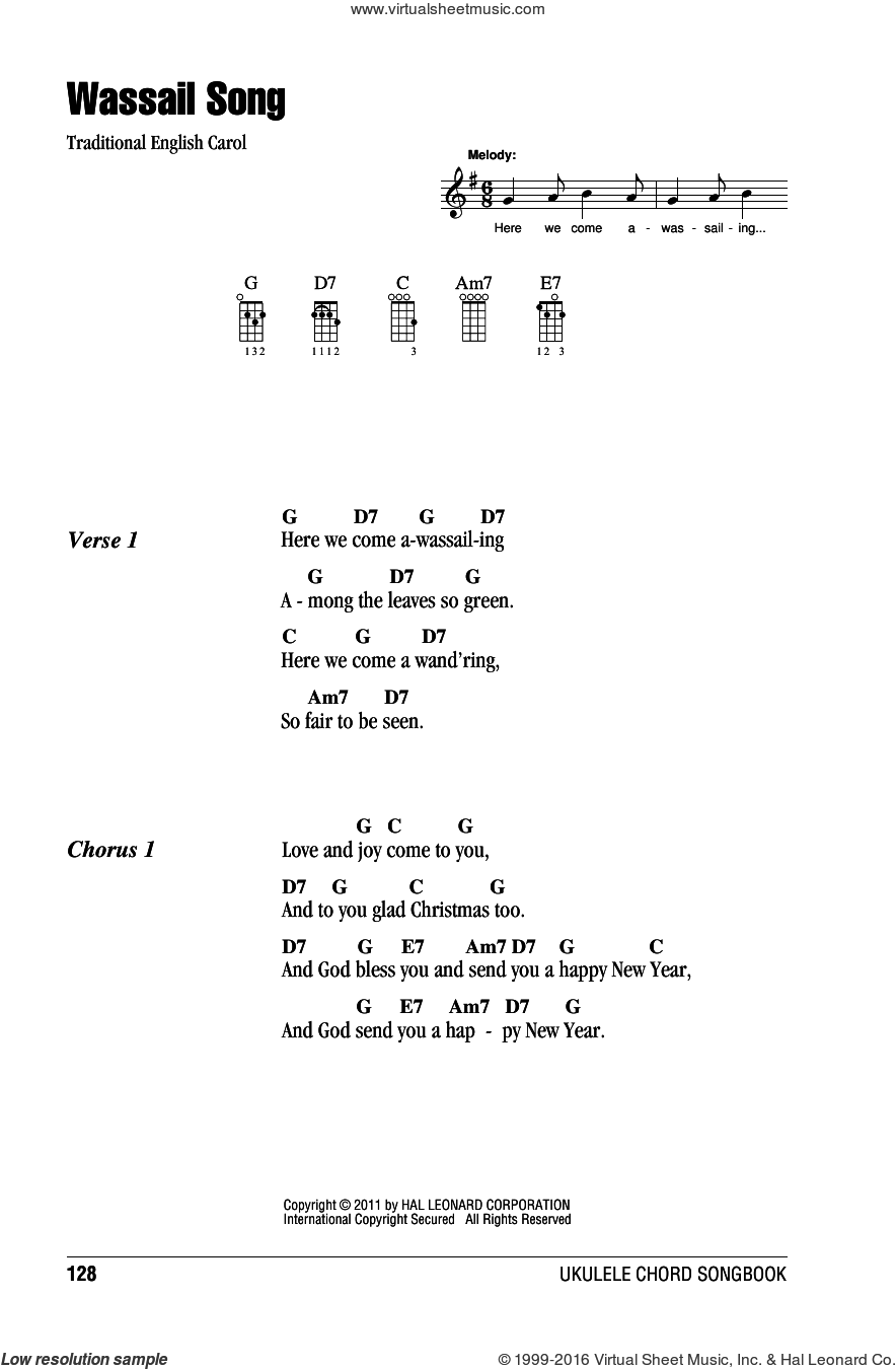 Wassail Song sheet music for ukulele (chords), intermediate. Score Image Preview.