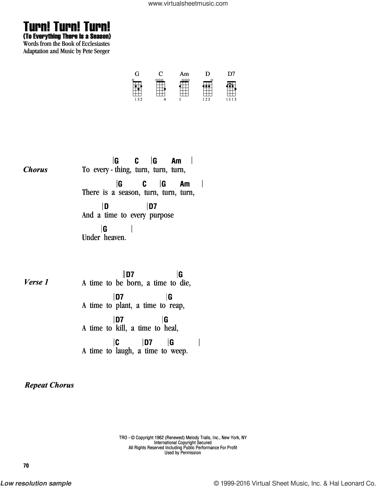 Turn! Turn! Turn! (To Everything There Is A Season) sheet music for ukulele (chords) by The Byrds, Book of Ecclesiastes and Pete Seeger, intermediate skill level