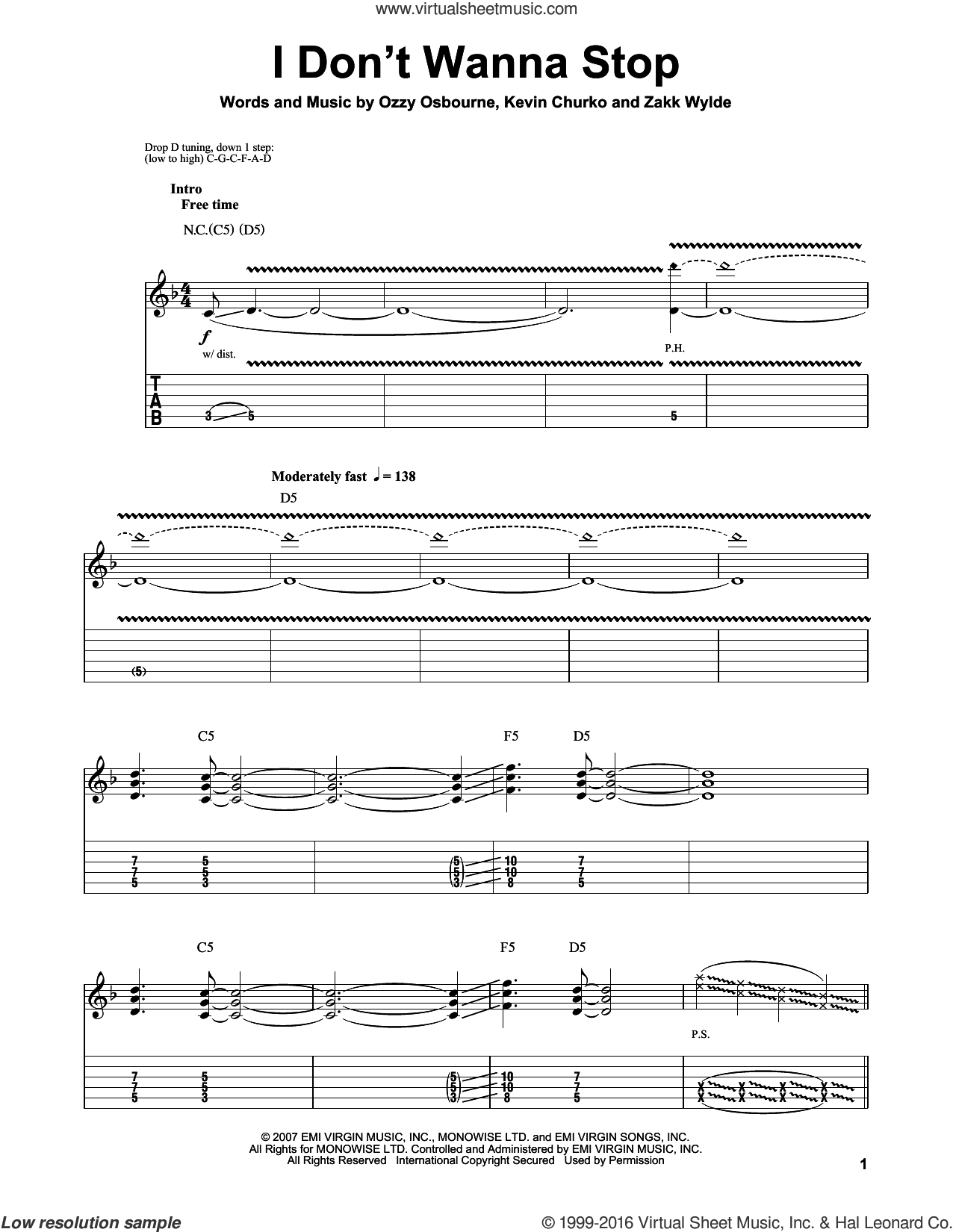 I Don't Wanna Stop sheet music for guitar (tablature, play-along) by Ozzy Osbourne, Kevin Churko and Zakk Wylde, intermediate