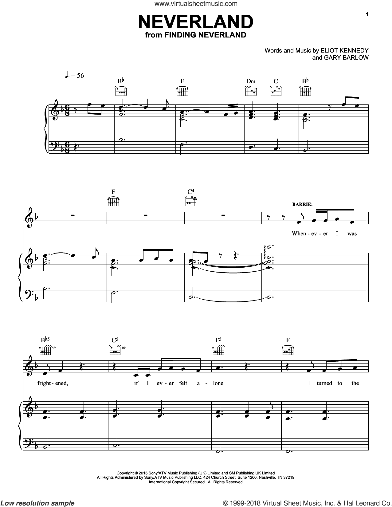 Neverland sheet music for voice, piano or guitar by Gary Barlow & Eliot Kennedy, Eliot Kennedy and Gary Barlow, intermediate skill level