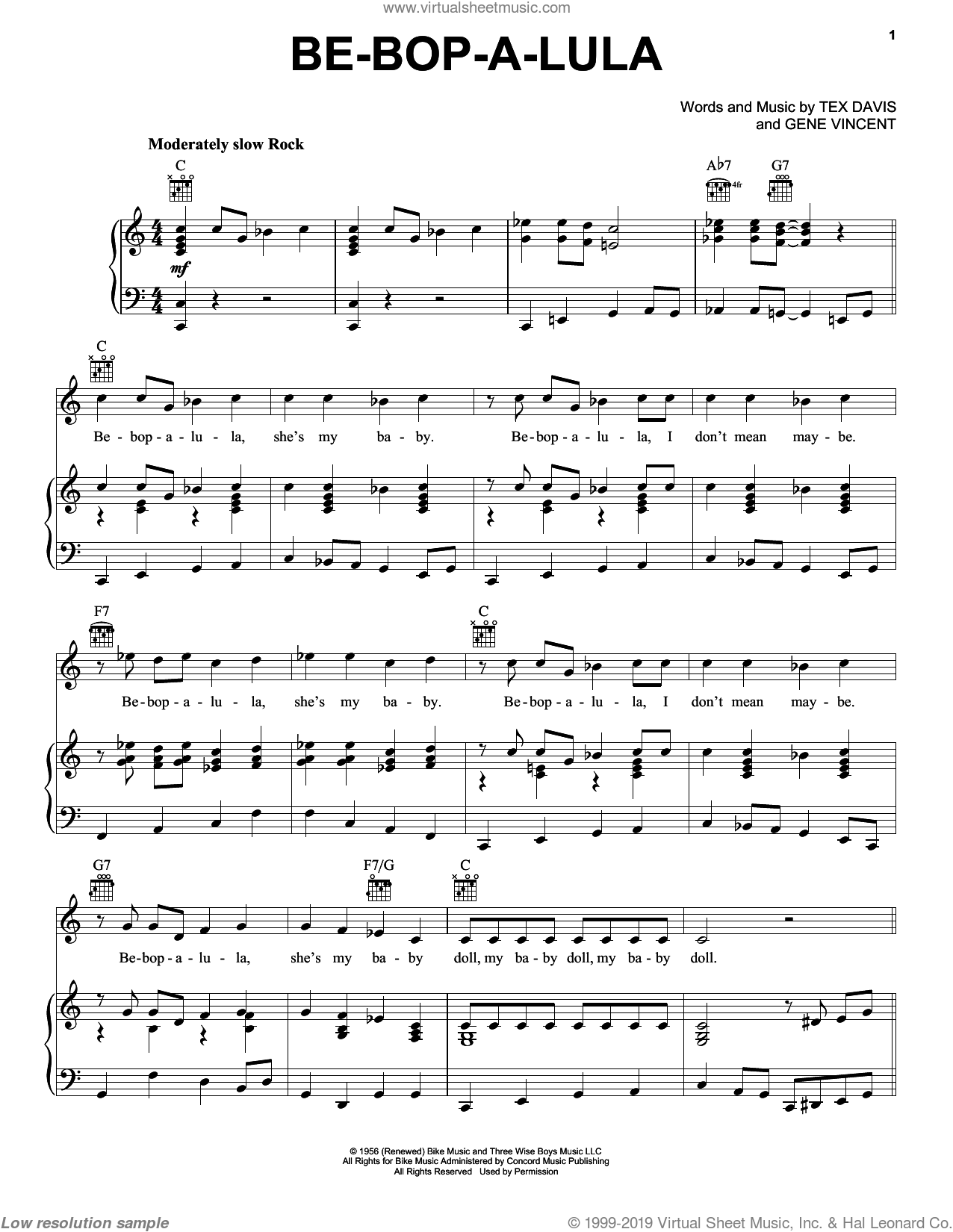 Be-Bop-A-Lula sheet music for voice, piano or guitar by Tex Davis. Score Image Preview.