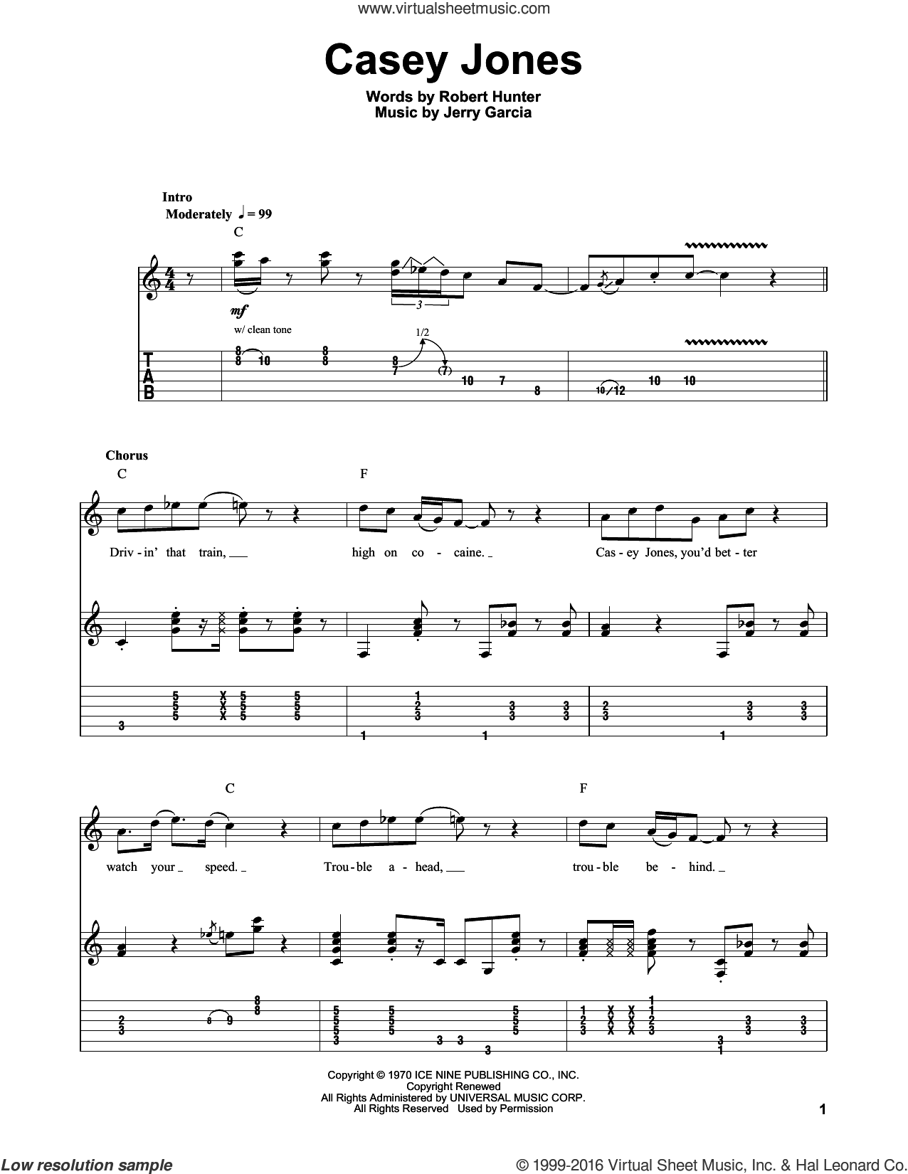 Casey Jones sheet music for guitar (tablature, play-along) by Grateful Dead, Jerry Garcia and Robert Hunter, intermediate skill level