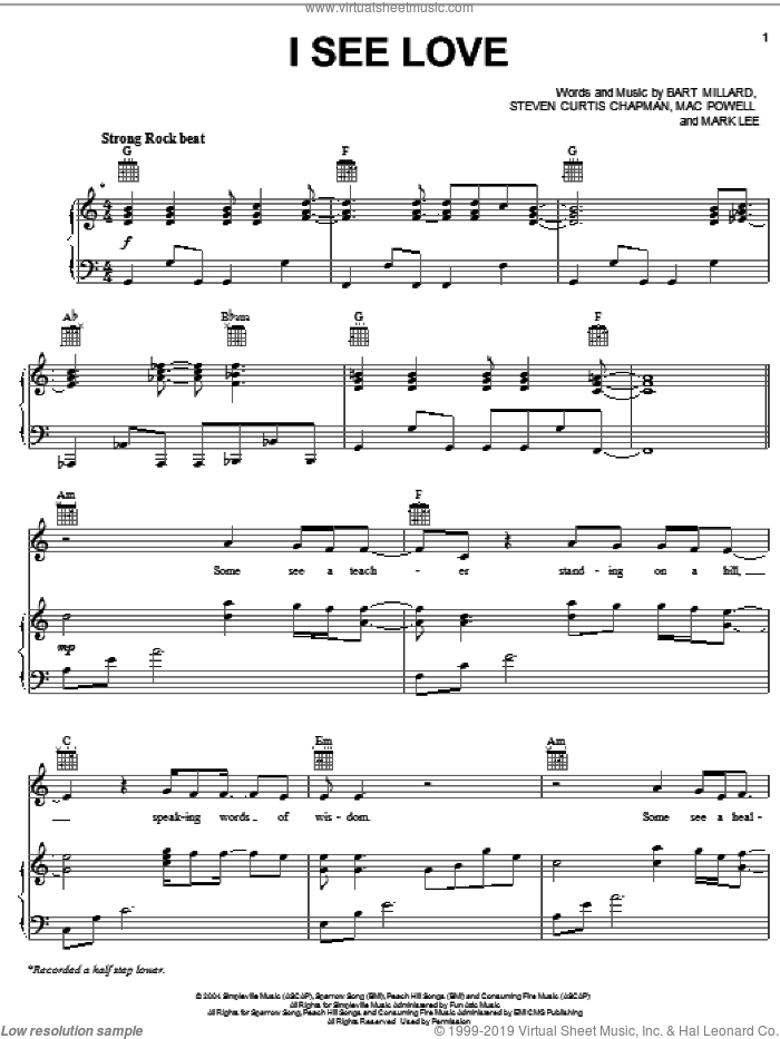 I See Love sheet music for voice, piano or guitar by Third Day and Steven Curtis Chapman, MercyMe, MercyMe, Third Day, Bart Millard and Steven Curtis Chapman. Score Image Preview.